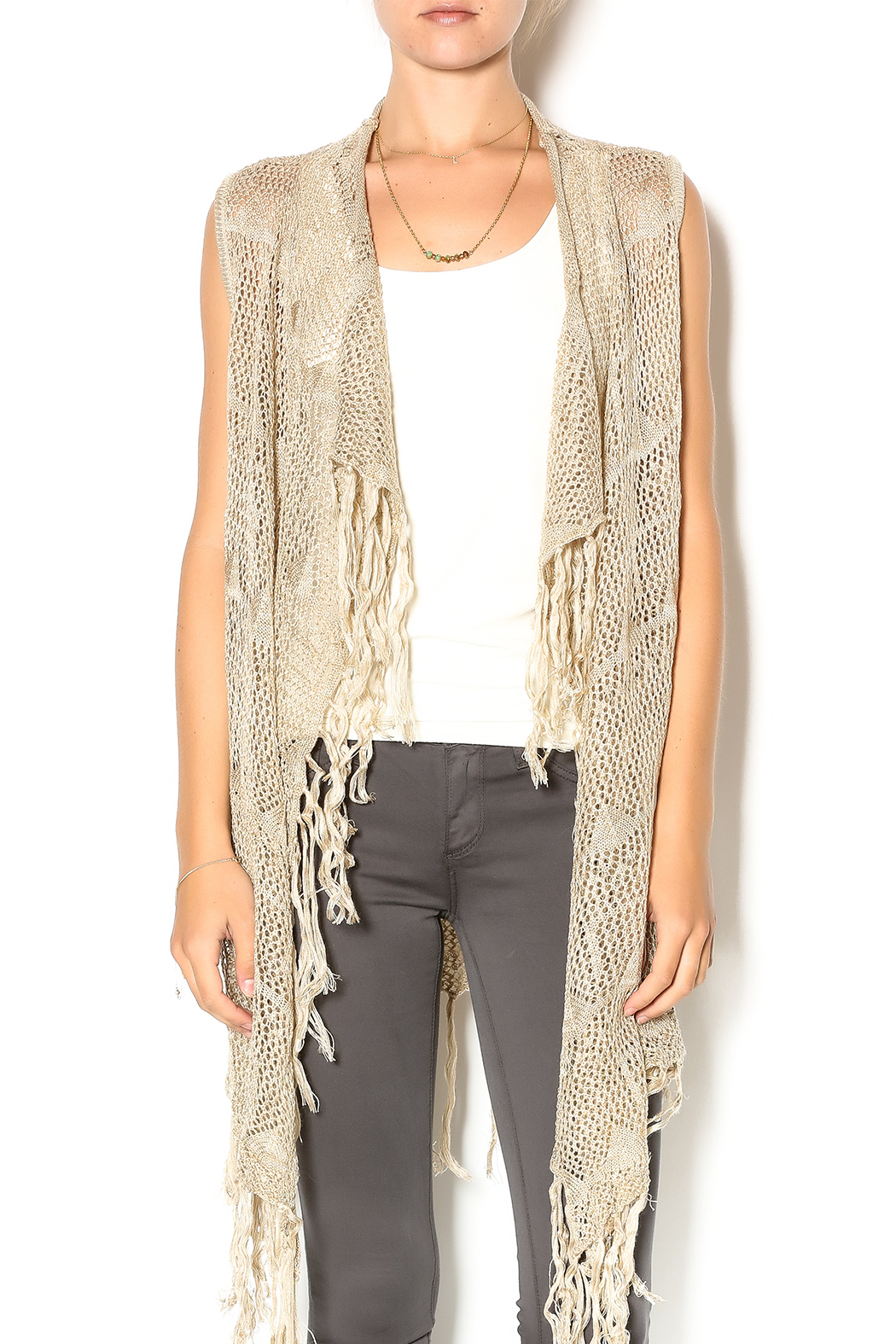 Joh Crochet Fringe Vest From Palm Beach By Glitz And Glam Boutique
