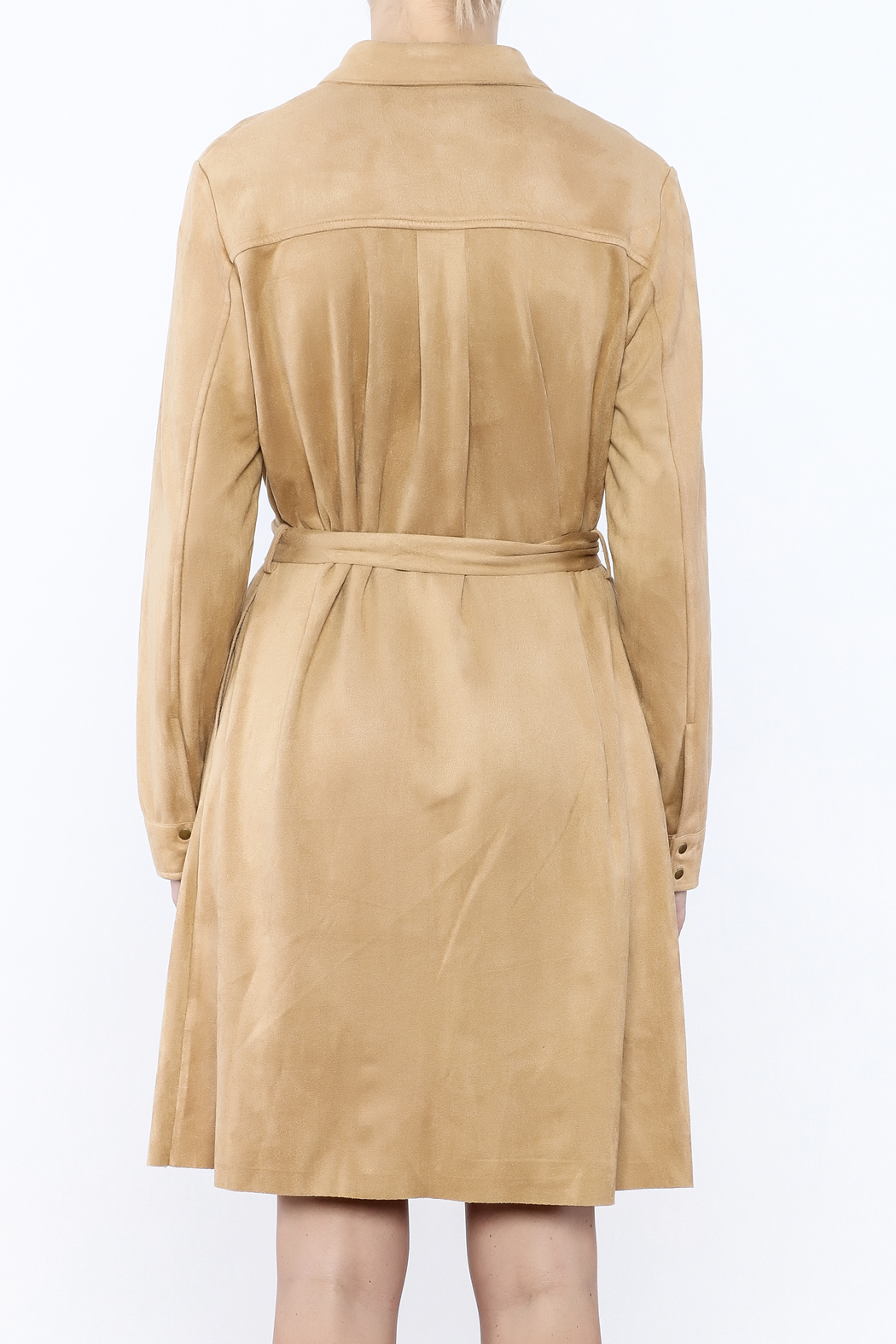 JOH Faux Suede Button-Down Dress - Back Cropped Image