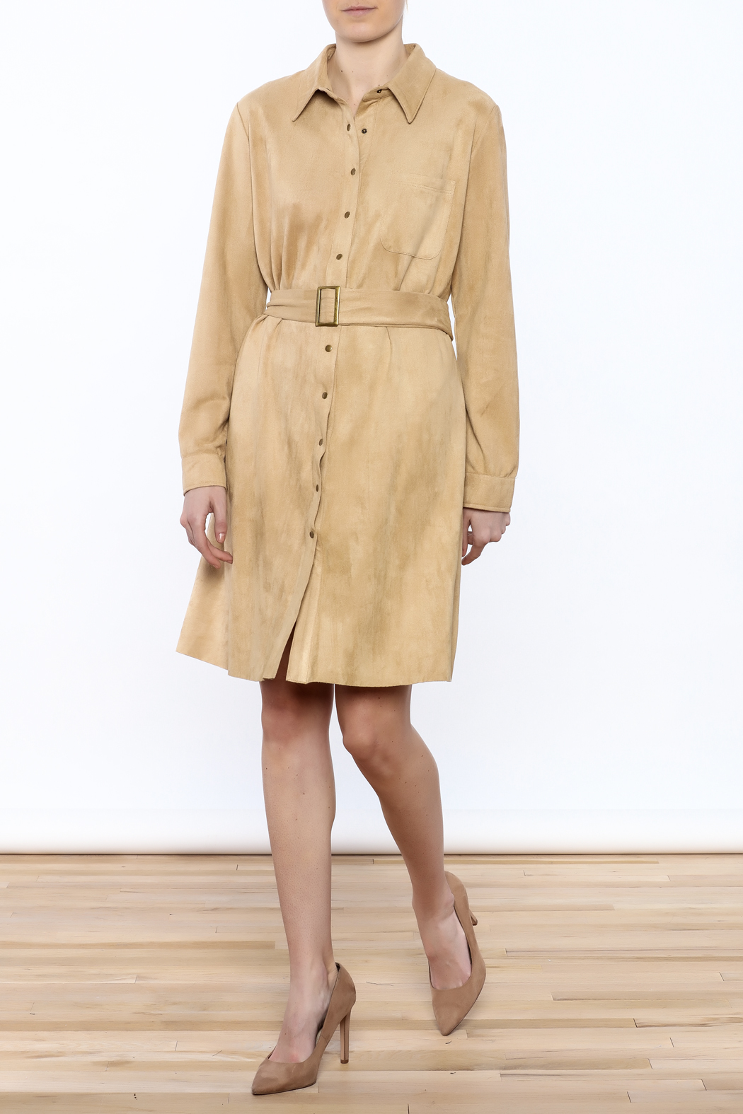 JOH Faux Suede Button-Down Dress - Front Full Image