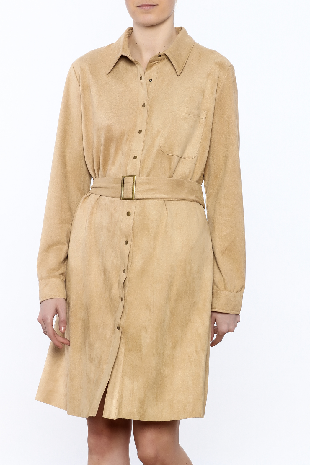 JOH Faux Suede Button-Down Dress - Front Cropped Image