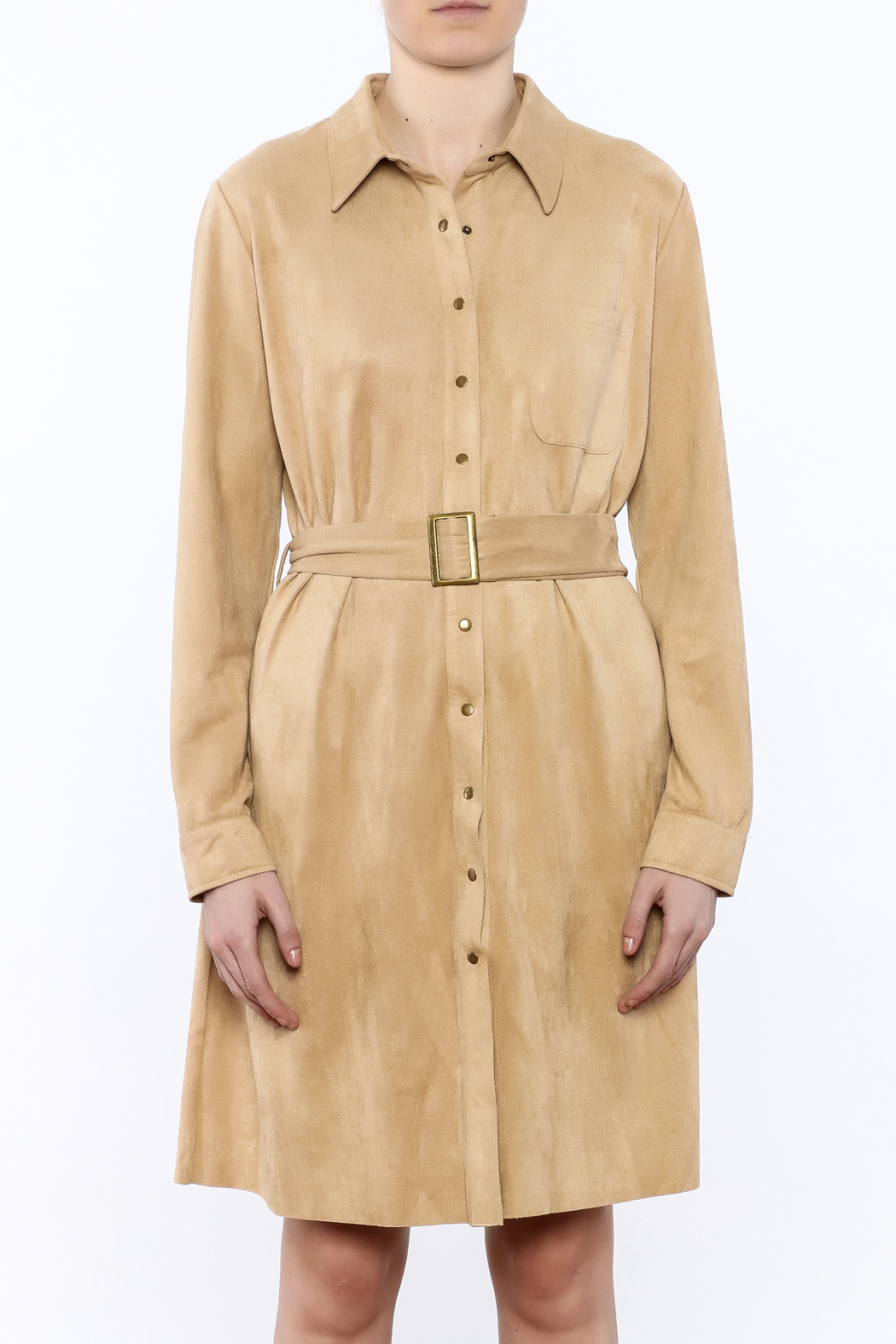 JOH Faux Suede Button-Down Dress - Side Cropped Image