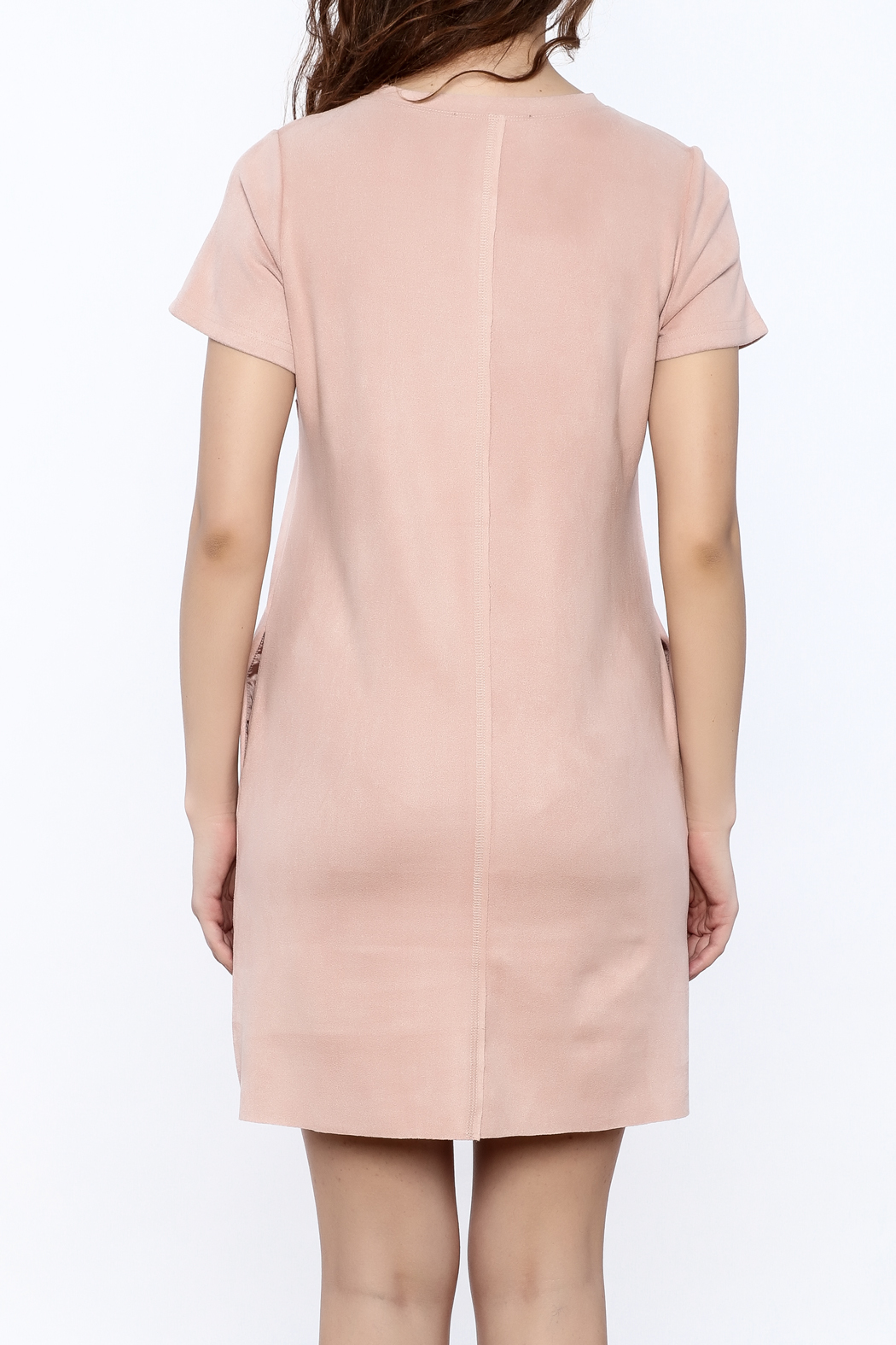 JOH Faux Suede Shift Dress - Back Cropped Image