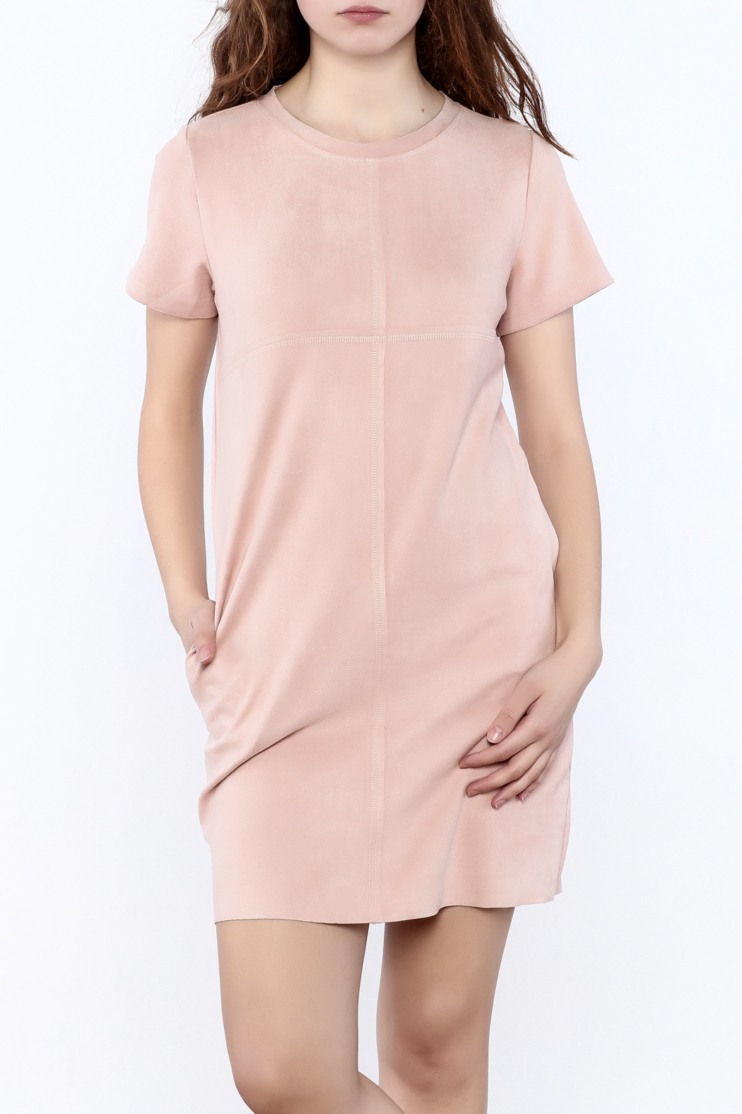 JOH Faux Suede Shift Dress - Front Cropped Image