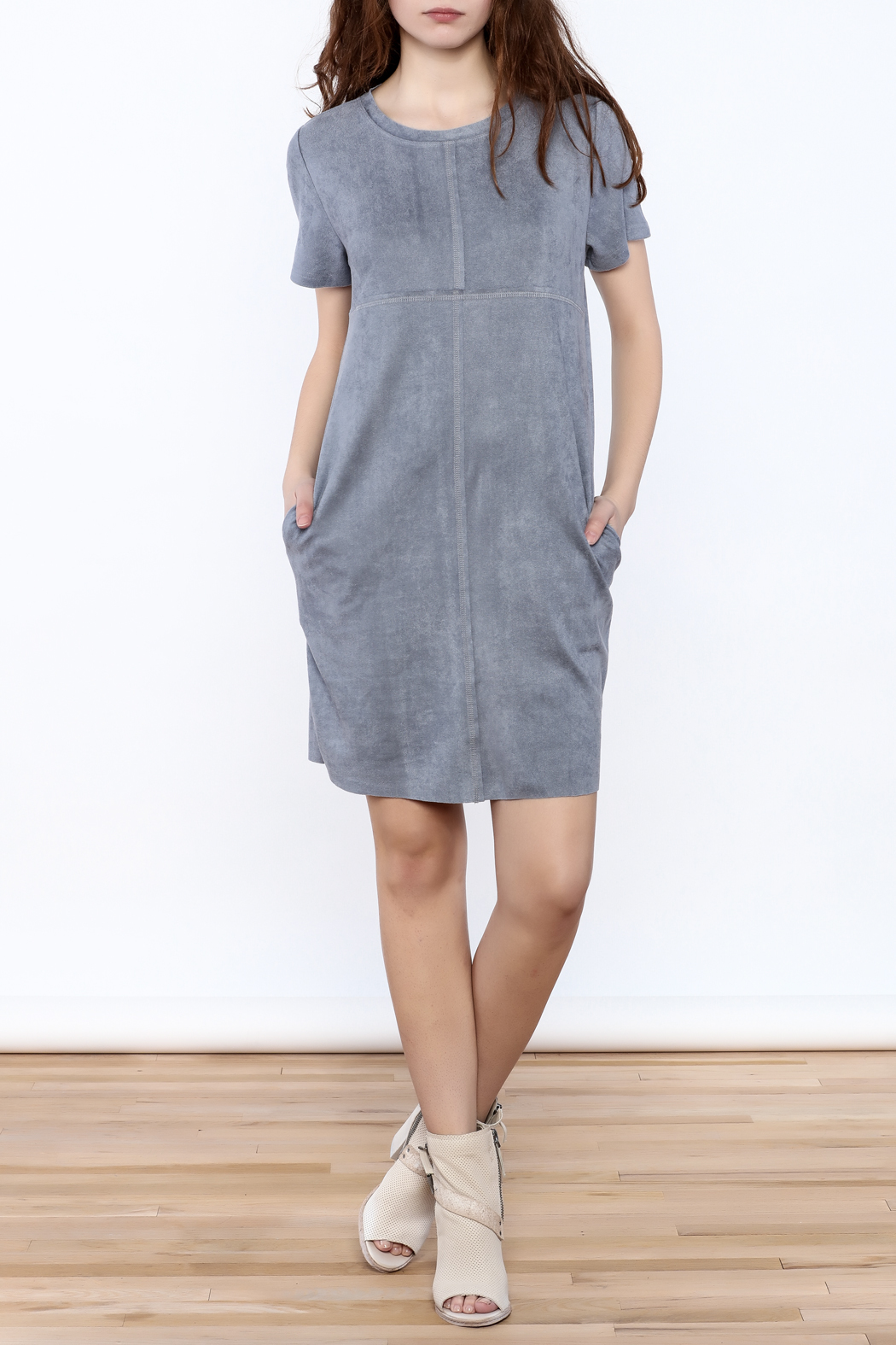 JOH Faux Suede Shift Dress - Front Full Image