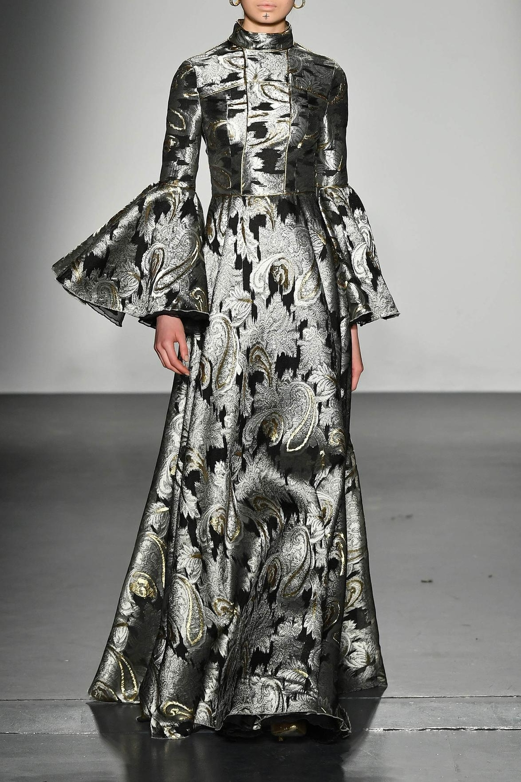 John Paul Ataker Metallic Jacquard Gown - Main Image