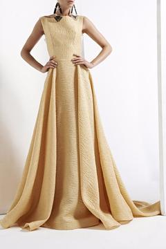 John Paul Ataker Gold Sleeveless Evening Gown - Alternate List Image