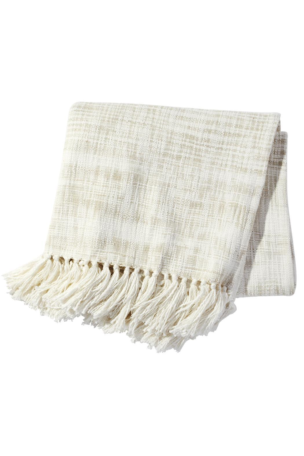 John Robshaw Cream Space-Dyed Throw - Main Image