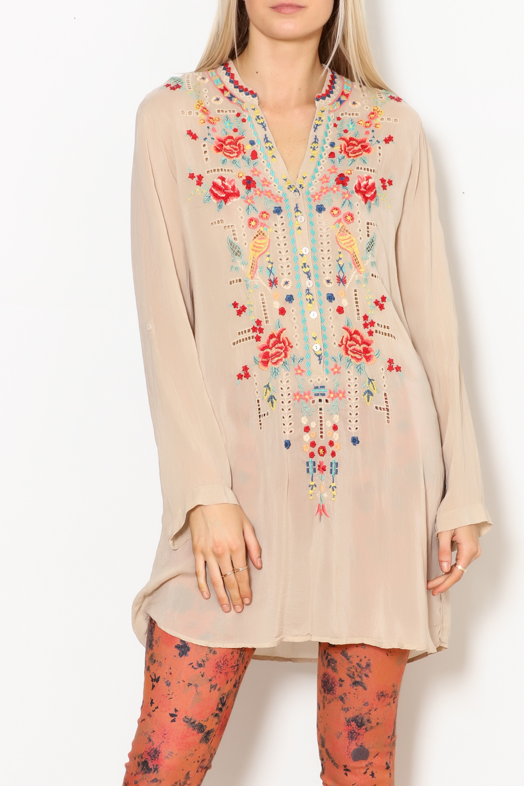 Johnny Was Eyelet Garden Tunic - Front Full Image