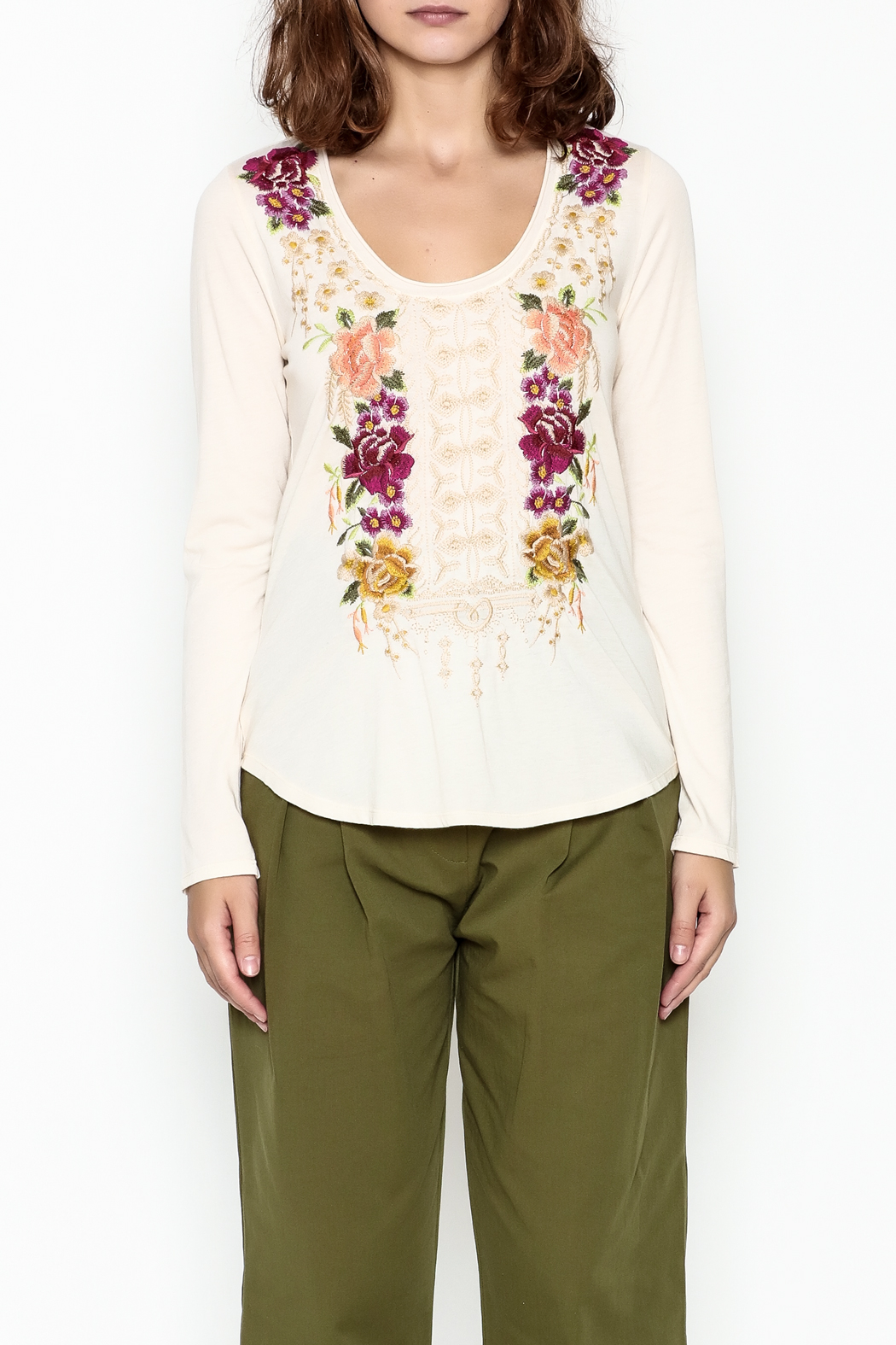 Johnny Was Flores Embroidered Tee - Front Full Image