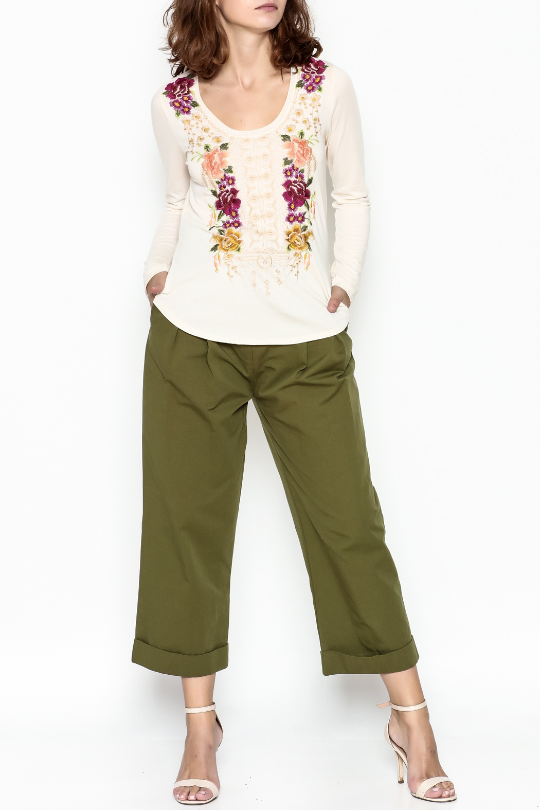 Johnny Was Flores Embroidered Tee - Side Cropped Image