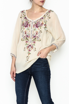 Shoptiques Product: Ivory Embroidered Top