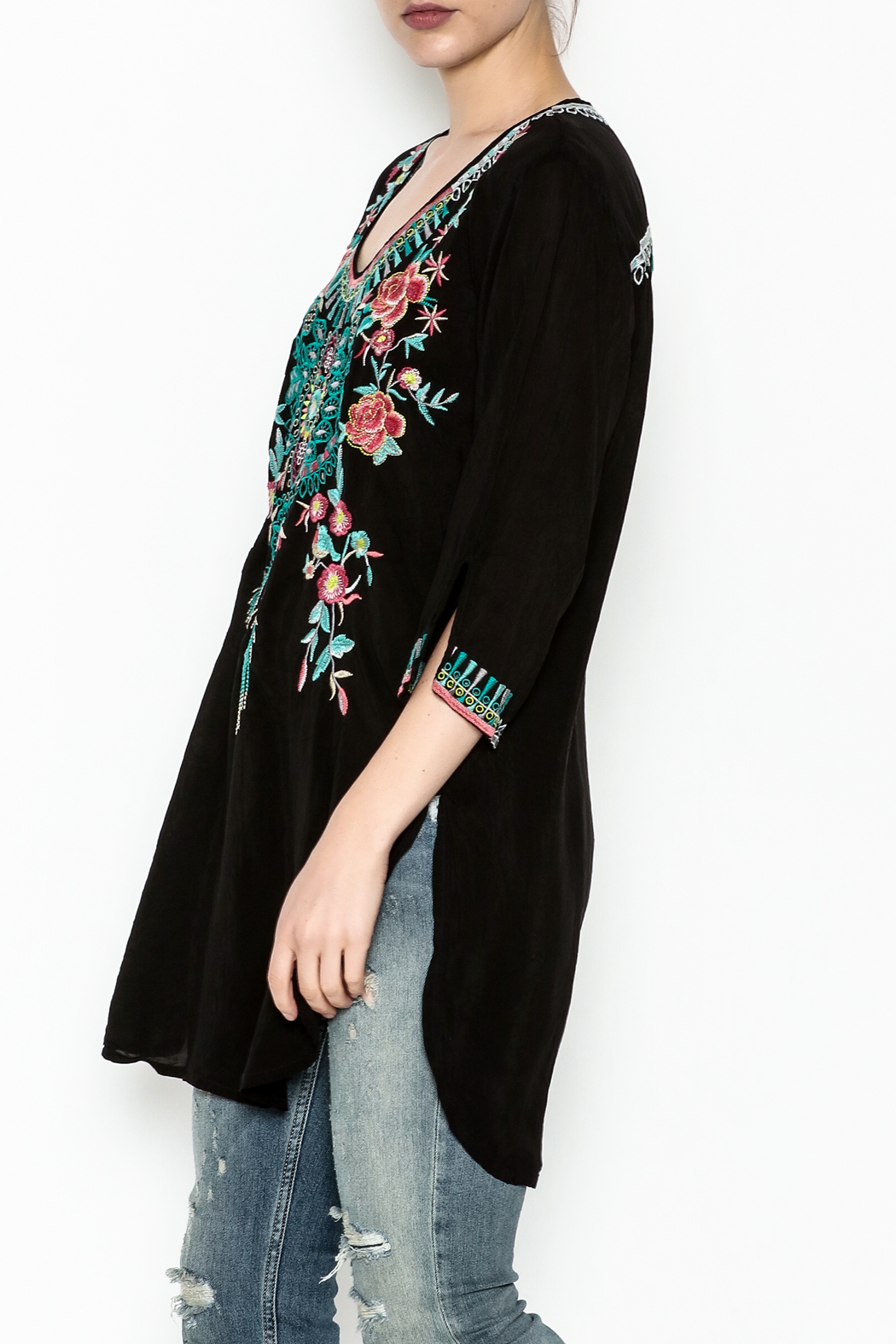 Johnny Was Zivelly Embroidered Tunic - Front Cropped Image