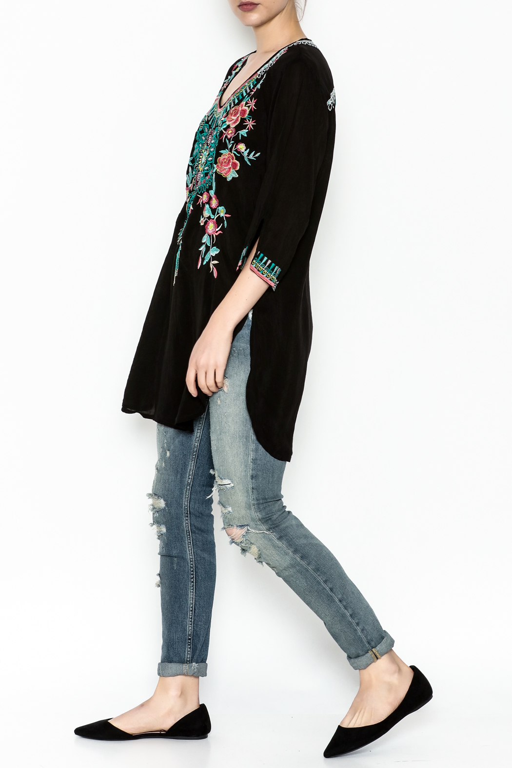 Johnny Was Zivelly Embroidered Tunic - Side Cropped Image