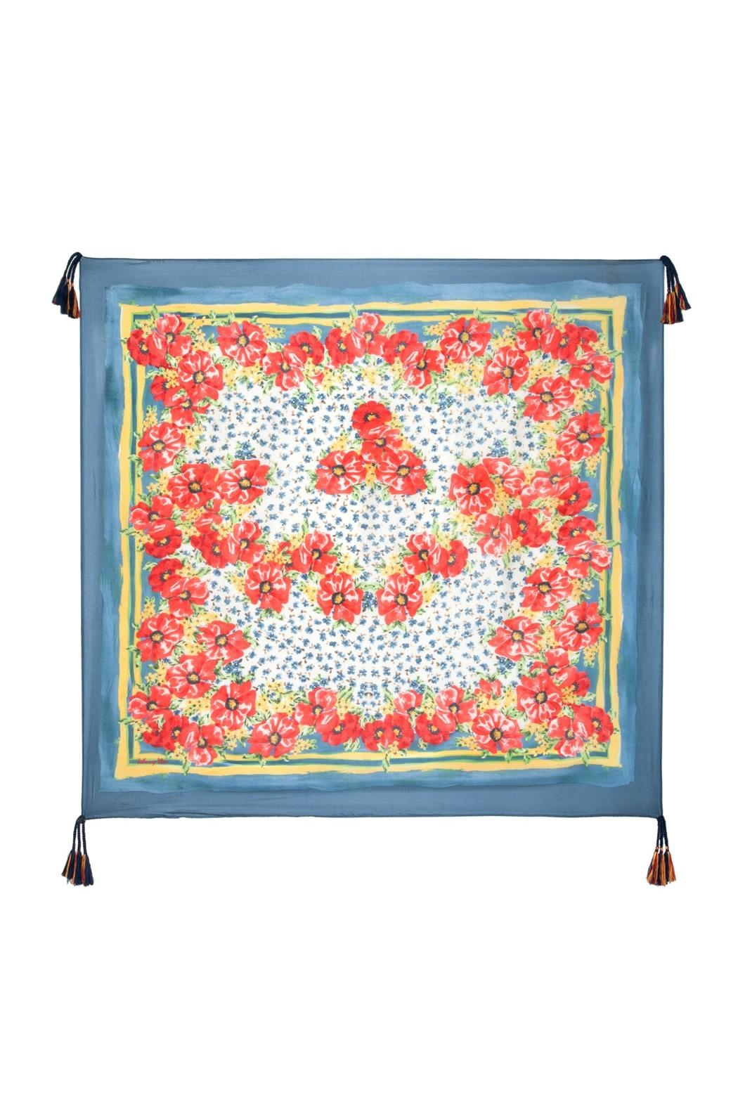 Johnny Was Blue Floral Silk Scarf - Front Full Image