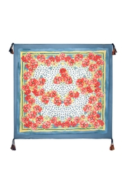 Johnny Was Blue Floral Silk Scarf - Front full body