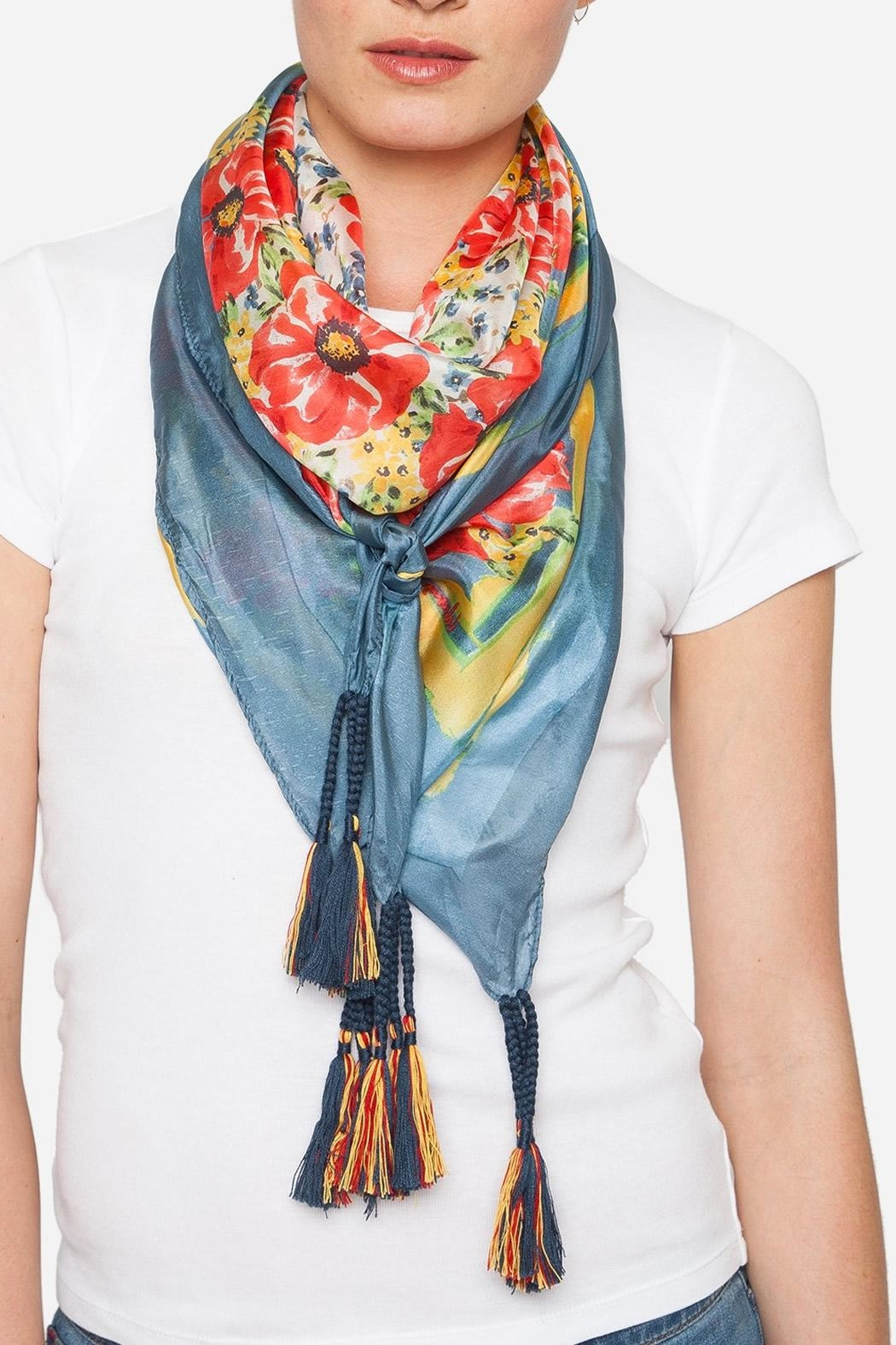 Johnny Was Blue Floral Silk Scarf - Main Image