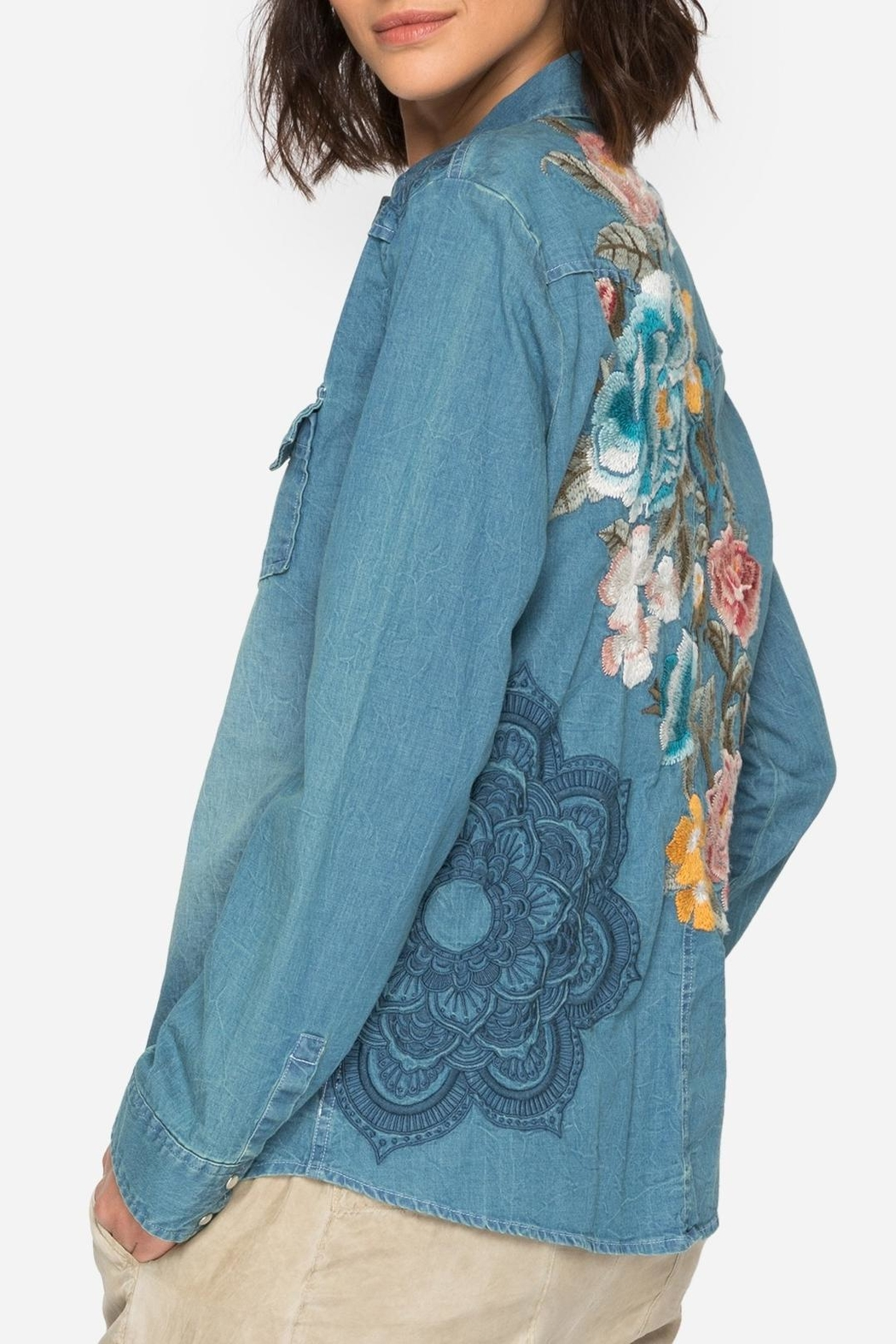 Johnny Was Denim Embroidered Shirt - Main Image