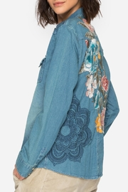 Johnny Was Denim Embroidered Shirt - Front cropped