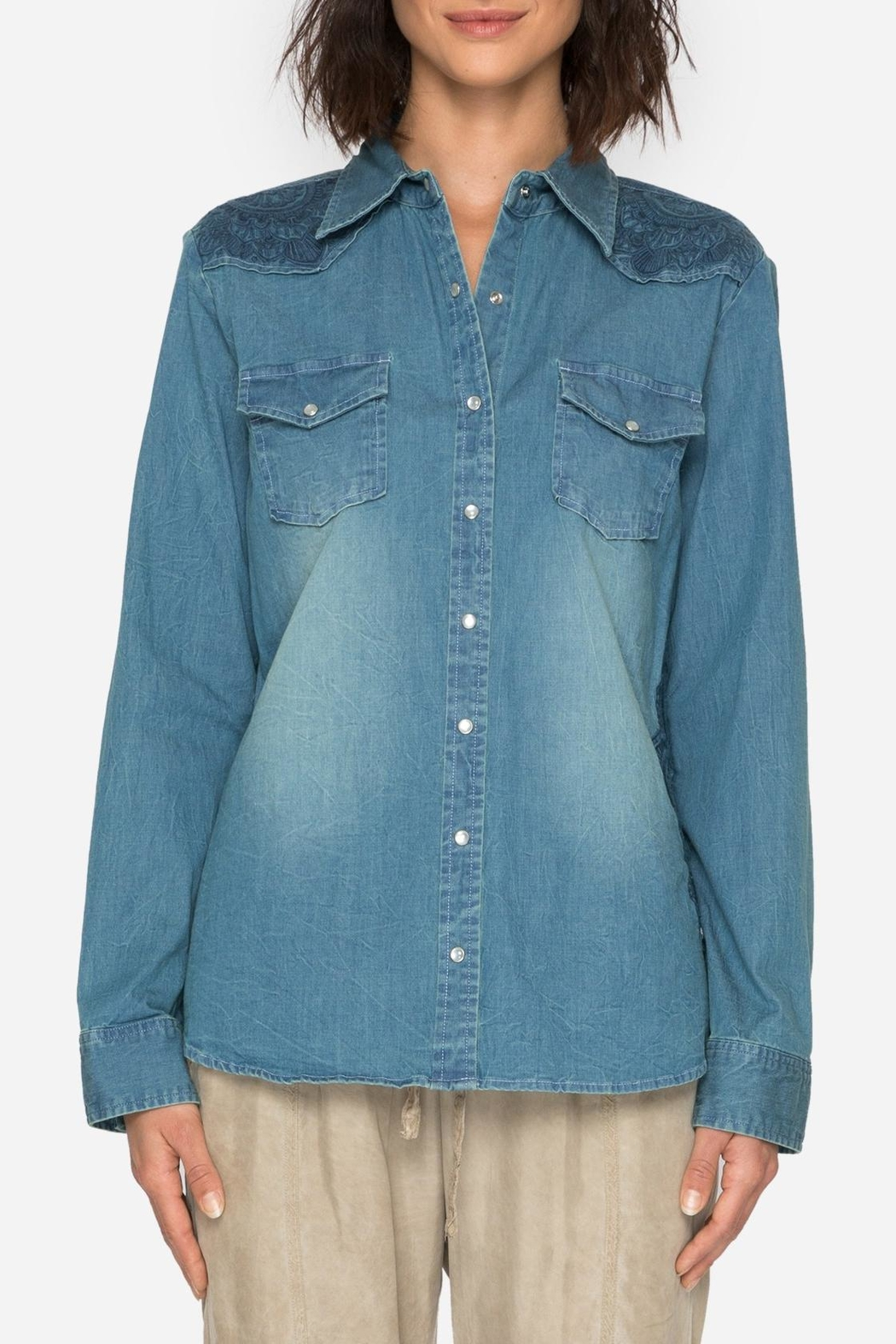 Johnny Was Denim Embroidered Shirt - Front Full Image