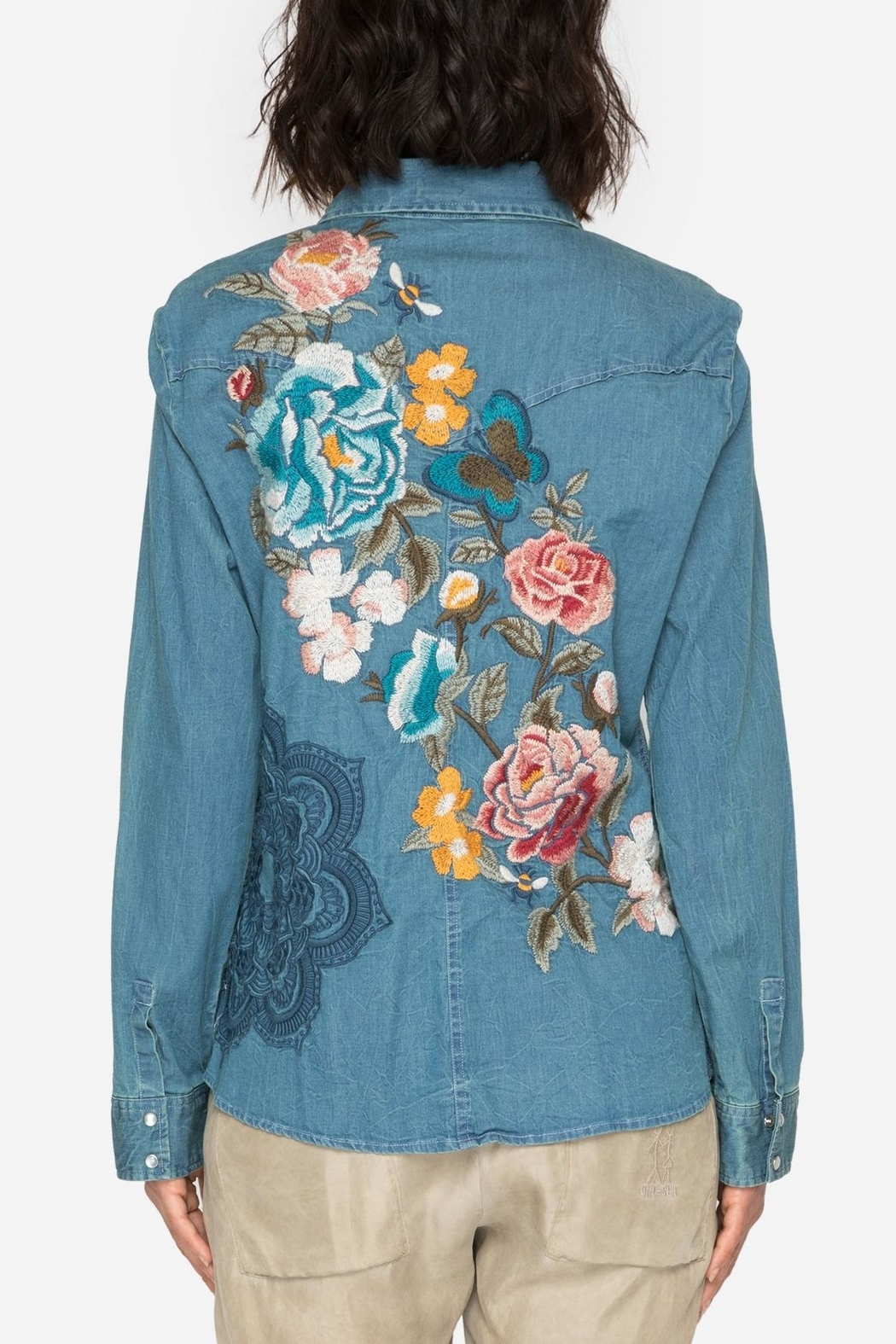 Johnny Was Denim Embroidered Shirt - Side Cropped Image