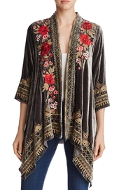 Johnny Was Draped Velvet Cardigan - Front cropped
