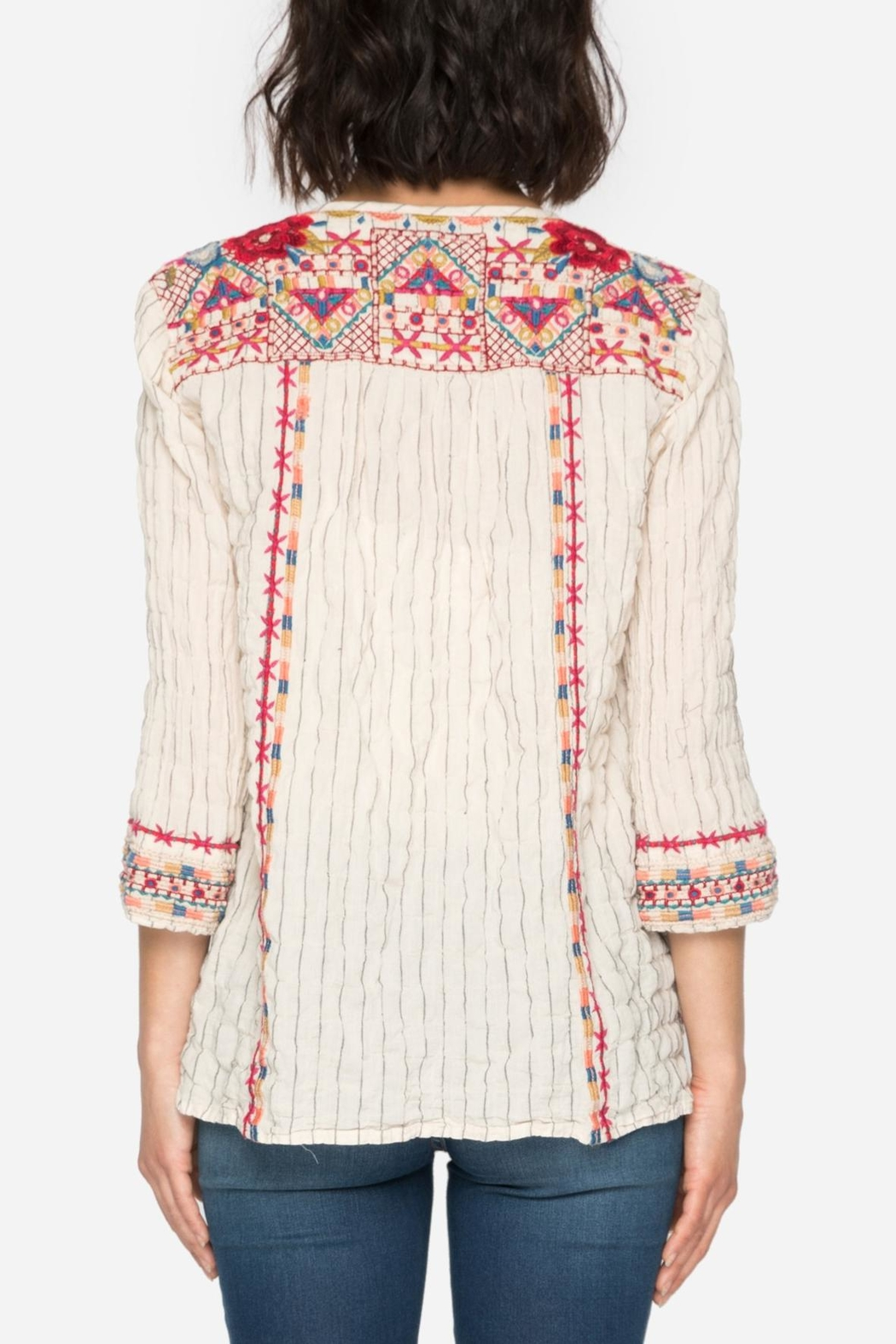 Johnny Was Embroidered Boho Blouse Top - Front Full Image