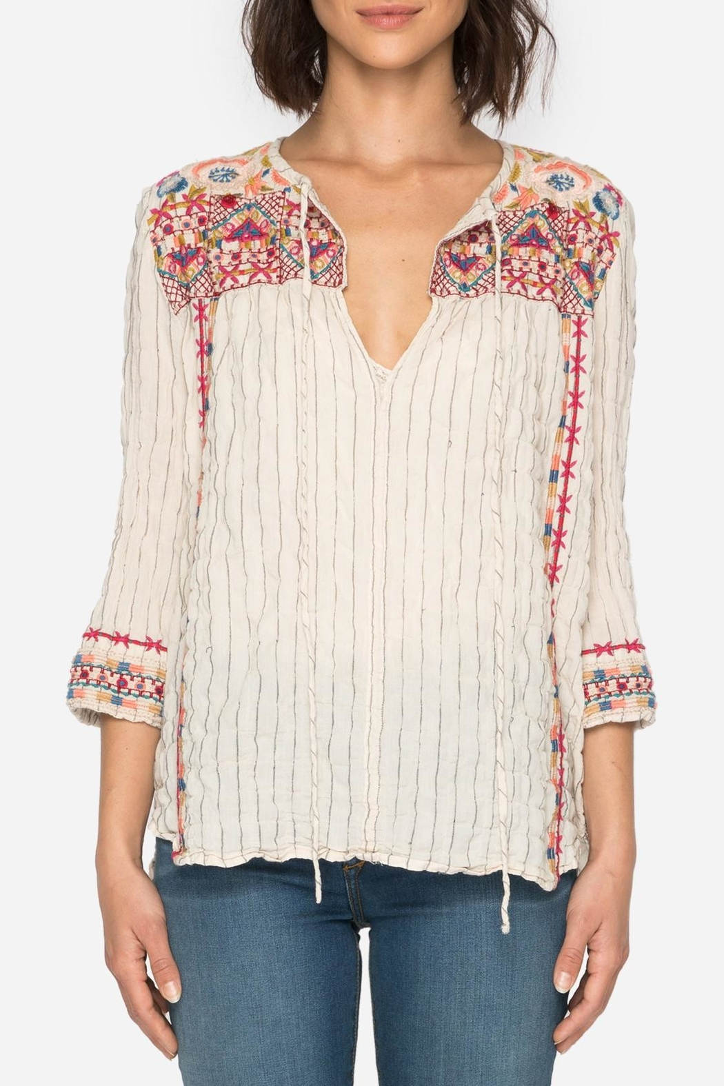 Johnny Was Embroidered Boho Blouse Top - Main Image
