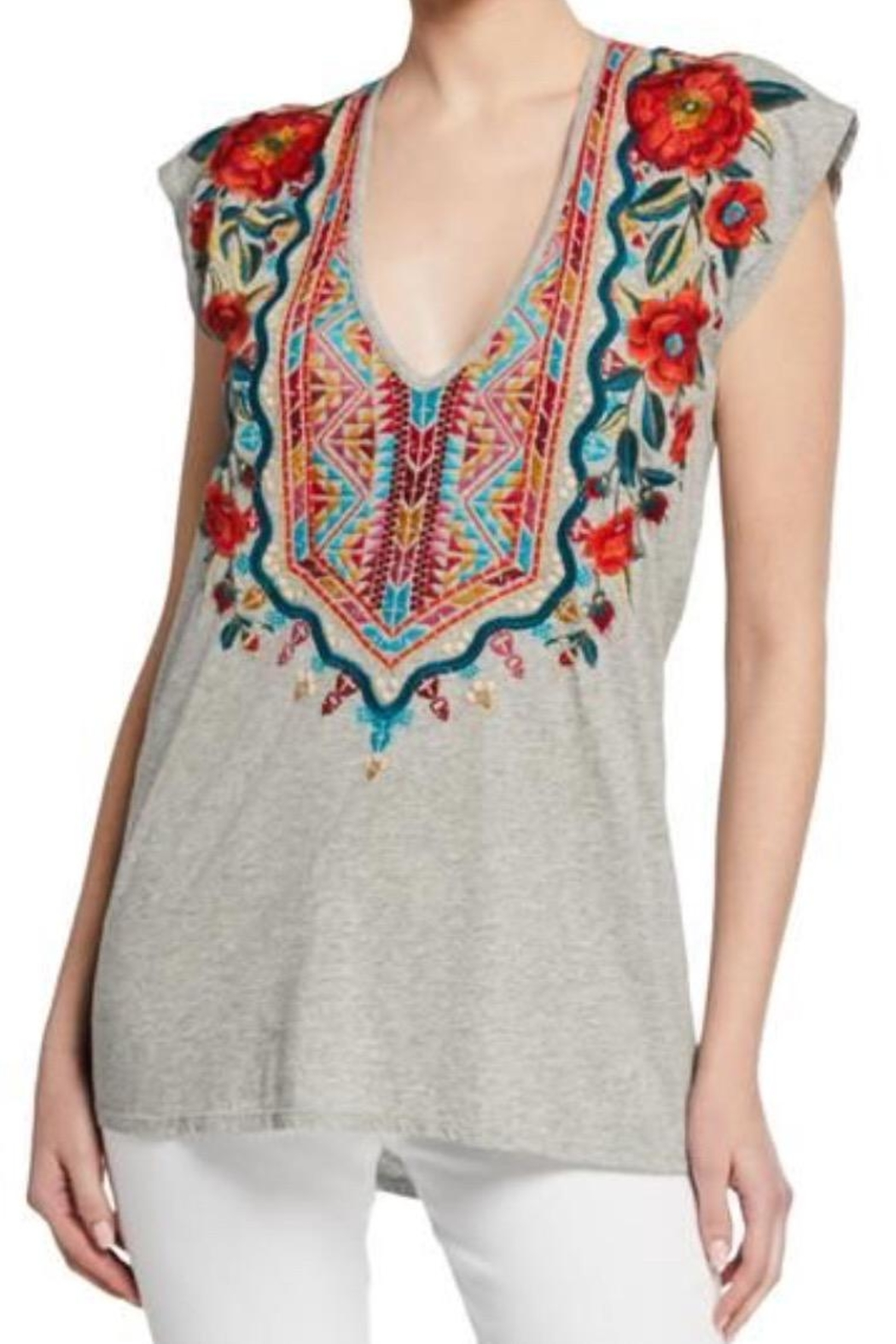 Johnny Was Embroidered Sleeveless Tee - Main Image