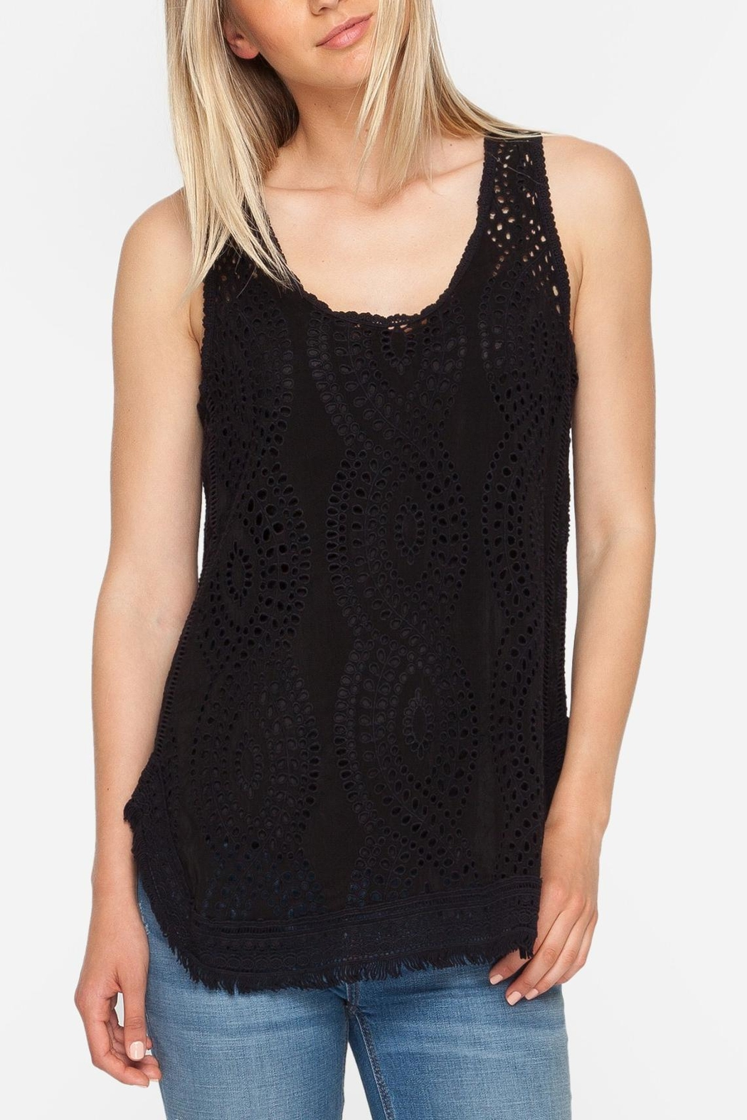 Johnny Was Eyelet Embroidered Tank - Front Cropped Image