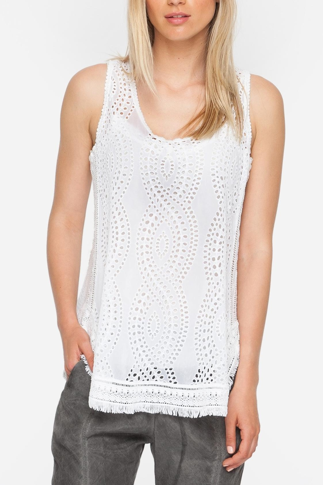 Johnny Was Eyelet Embroidered Tank - Main Image
