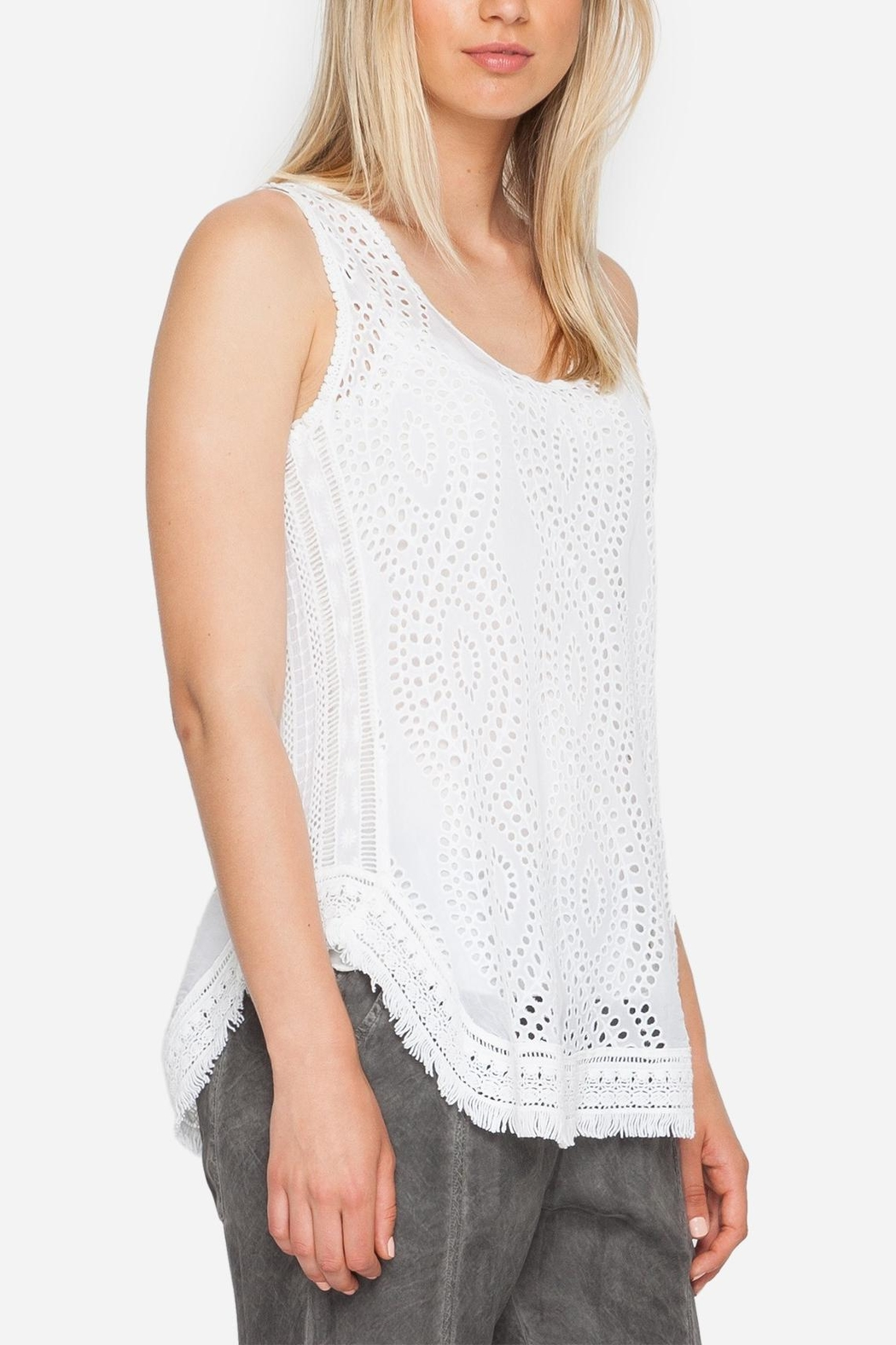 Johnny Was Eyelet Embroidered Tank - Front Full Image