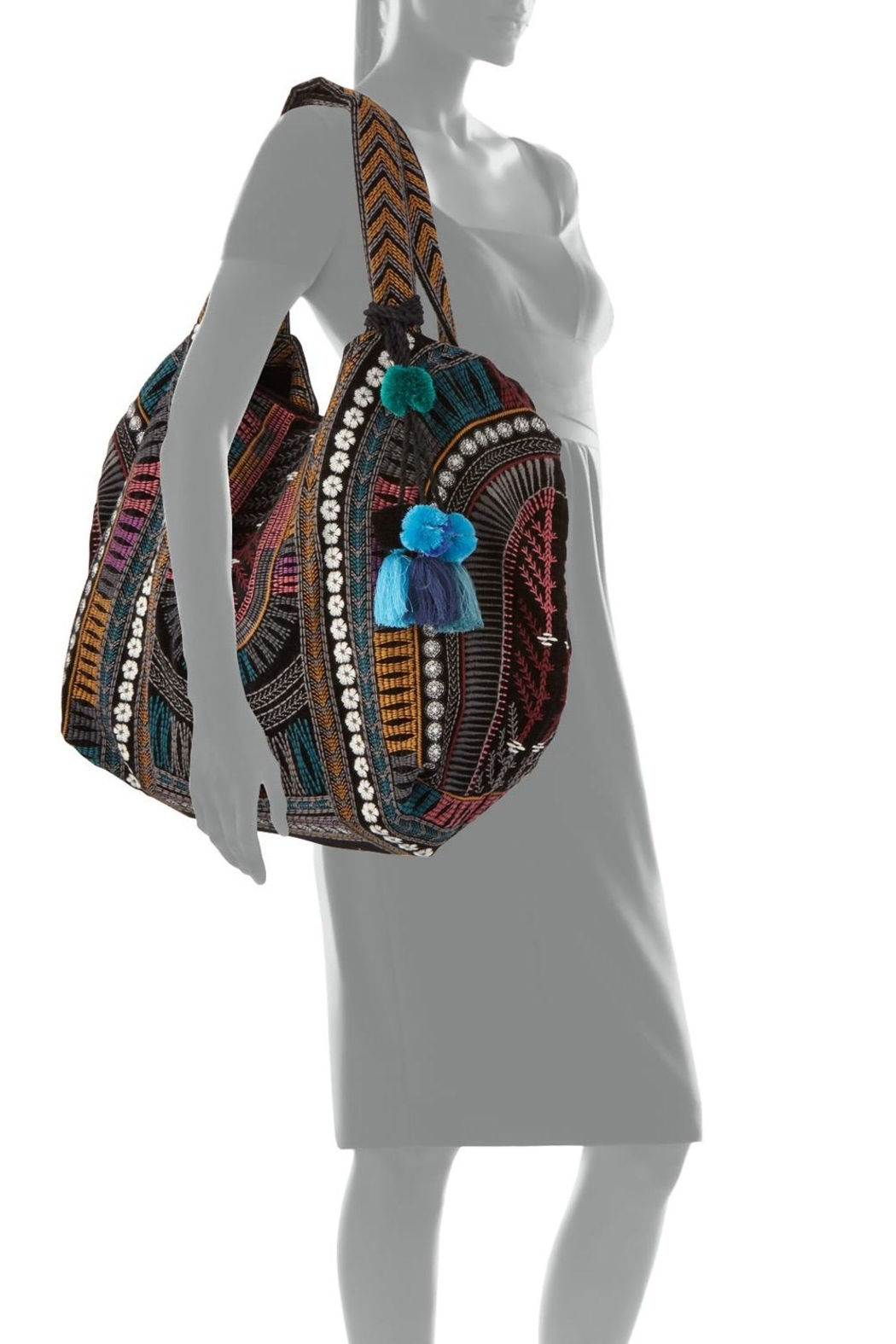 Johnny Was Gaia Velvet-Embroidered Tote - Side Cropped Image