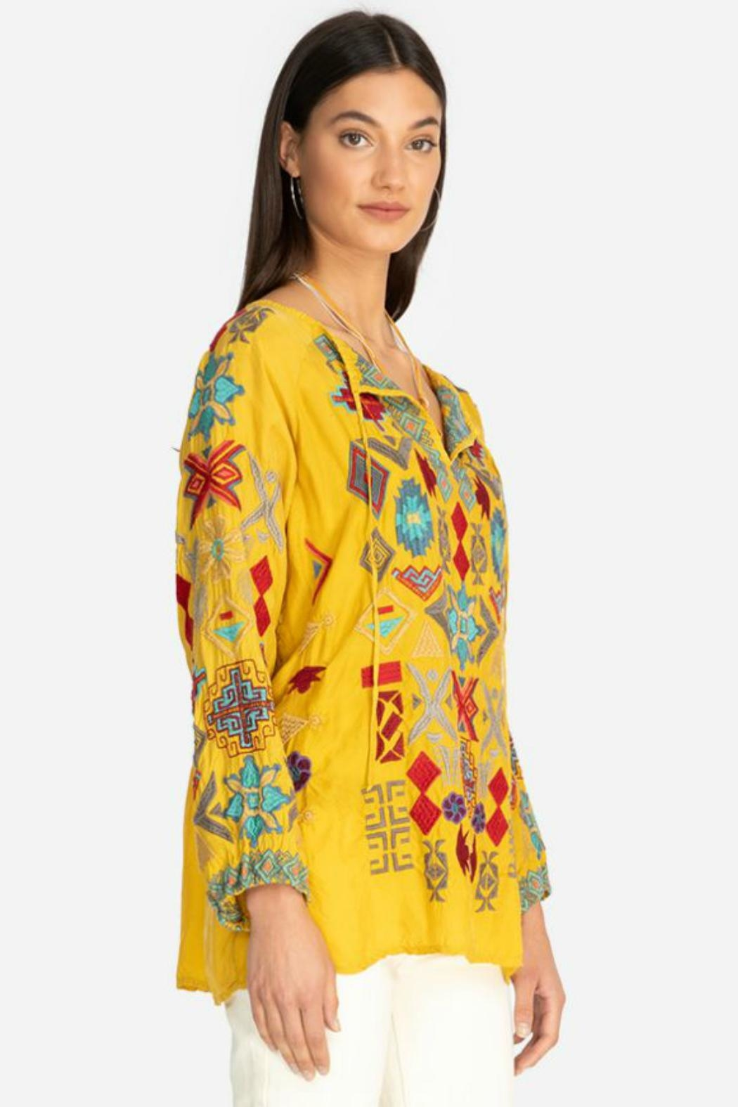 Johnny Was Goldenrod Embroidered Tunic - Front Full Image