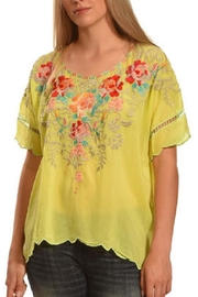 Johnny Was Jenn Green Blouse - Front cropped
