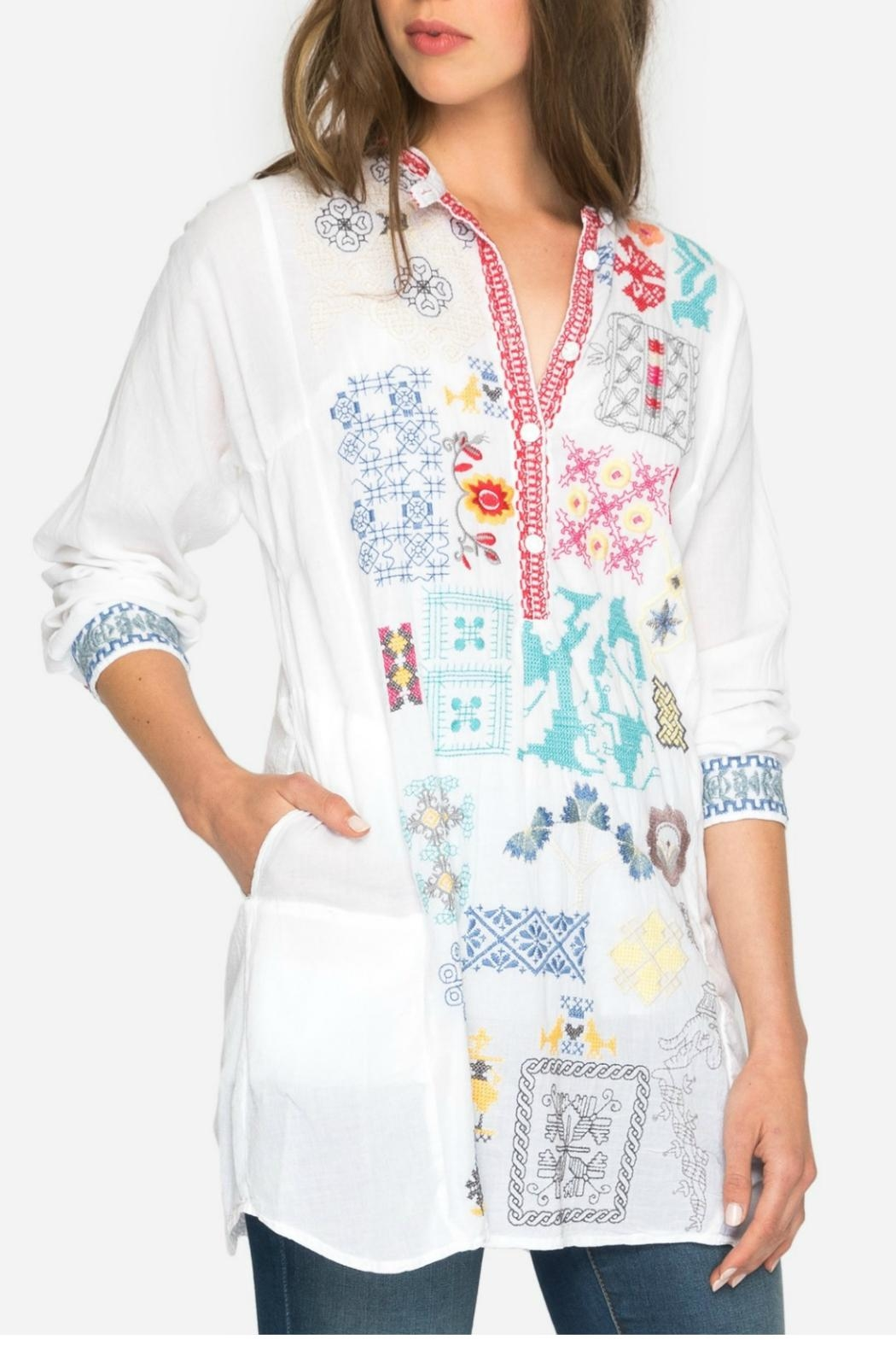Johnny Was Juno Embroidered Tunic - Front Full Image