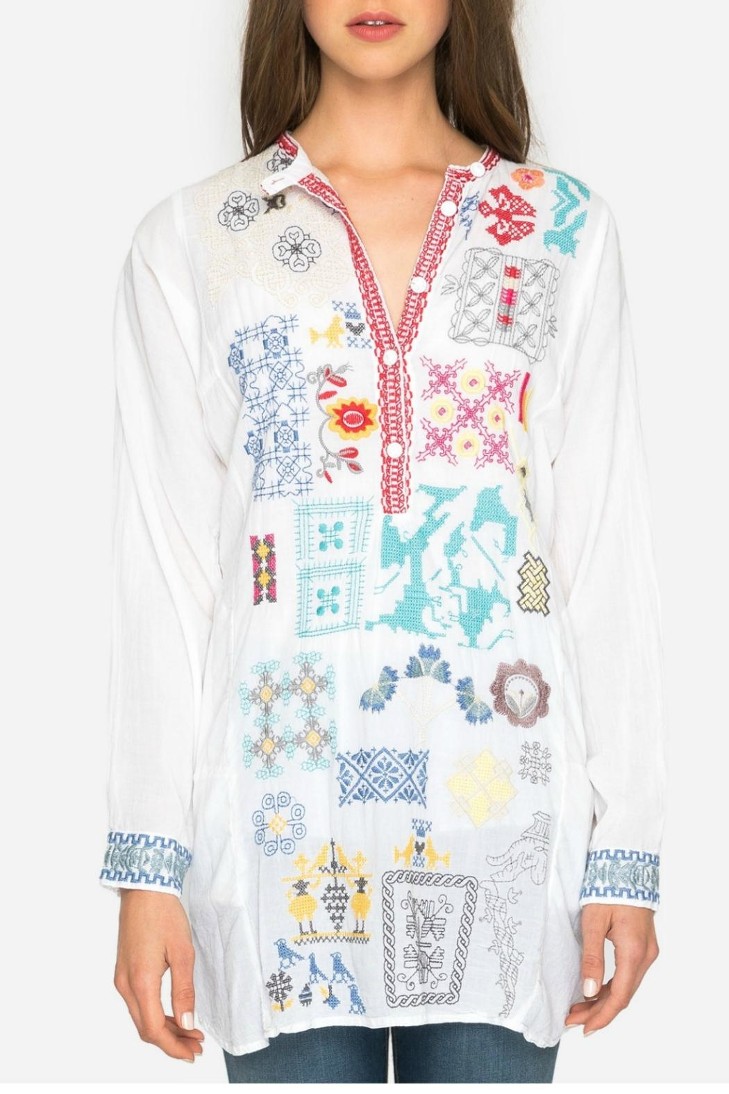 Johnny Was Juno Embroidered Tunic - Side Cropped Image
