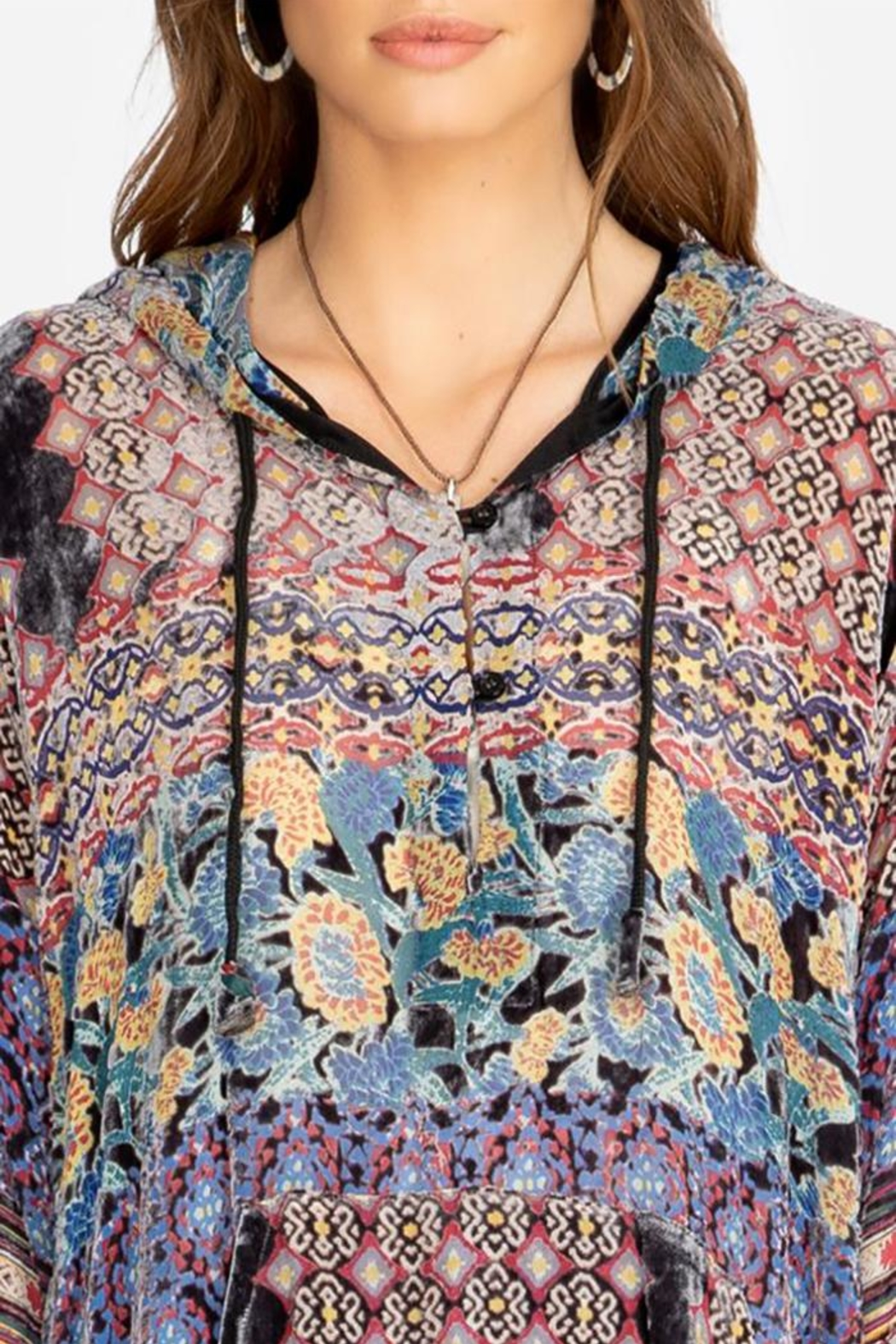 Johnny Was Karma Burnout Aztec Hoodie - Side Cropped Image