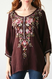 Johnny Was Merlot Embroidered Blouse - Product Mini Image