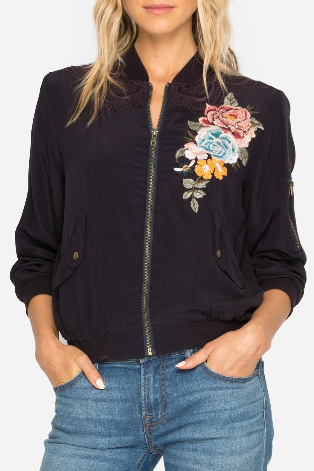 Johnny Was Silk Embroidered Bomber Jacket - Front Full Image