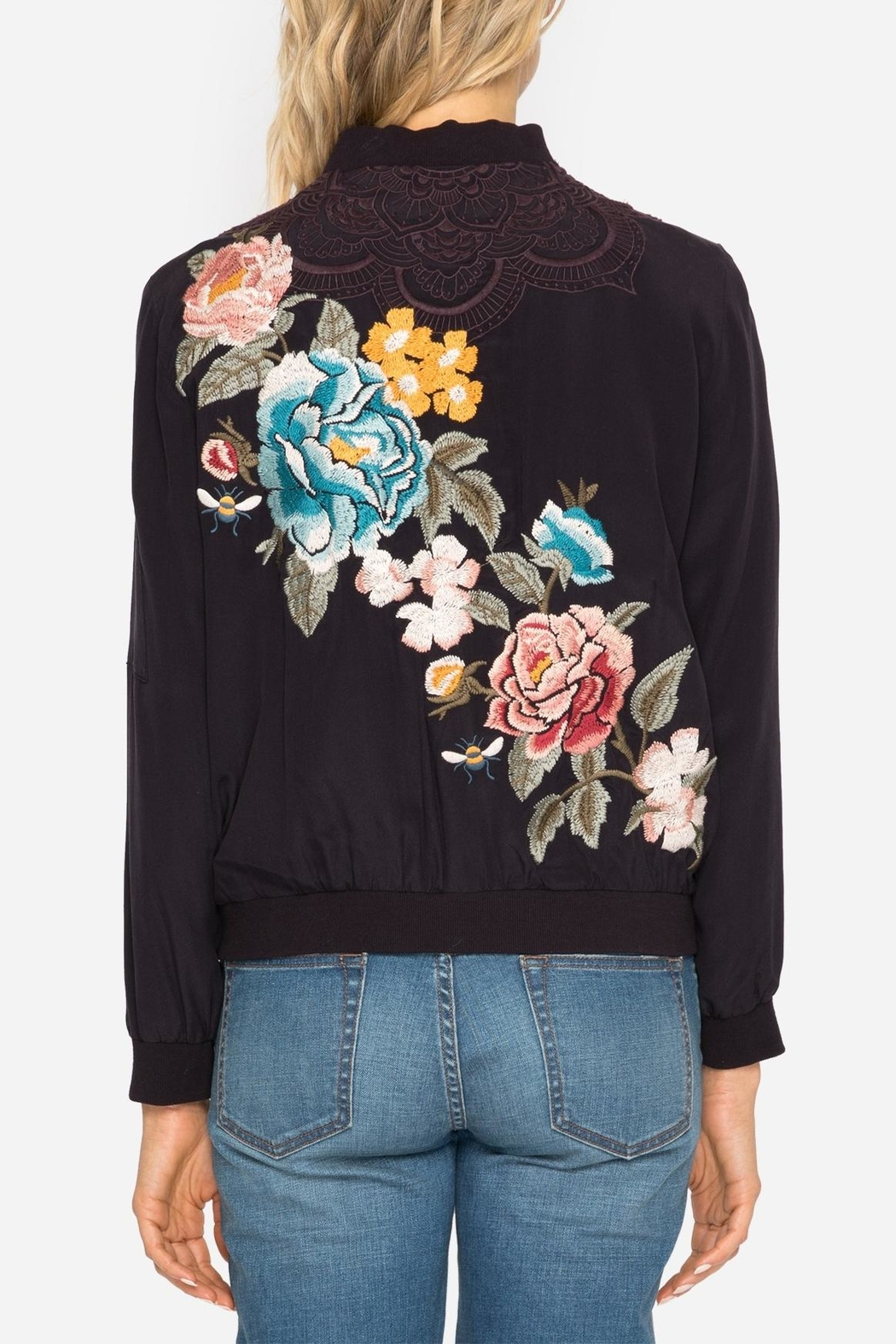 Johnny Was Silk Embroidered Bomber Jacket - Side Cropped Image