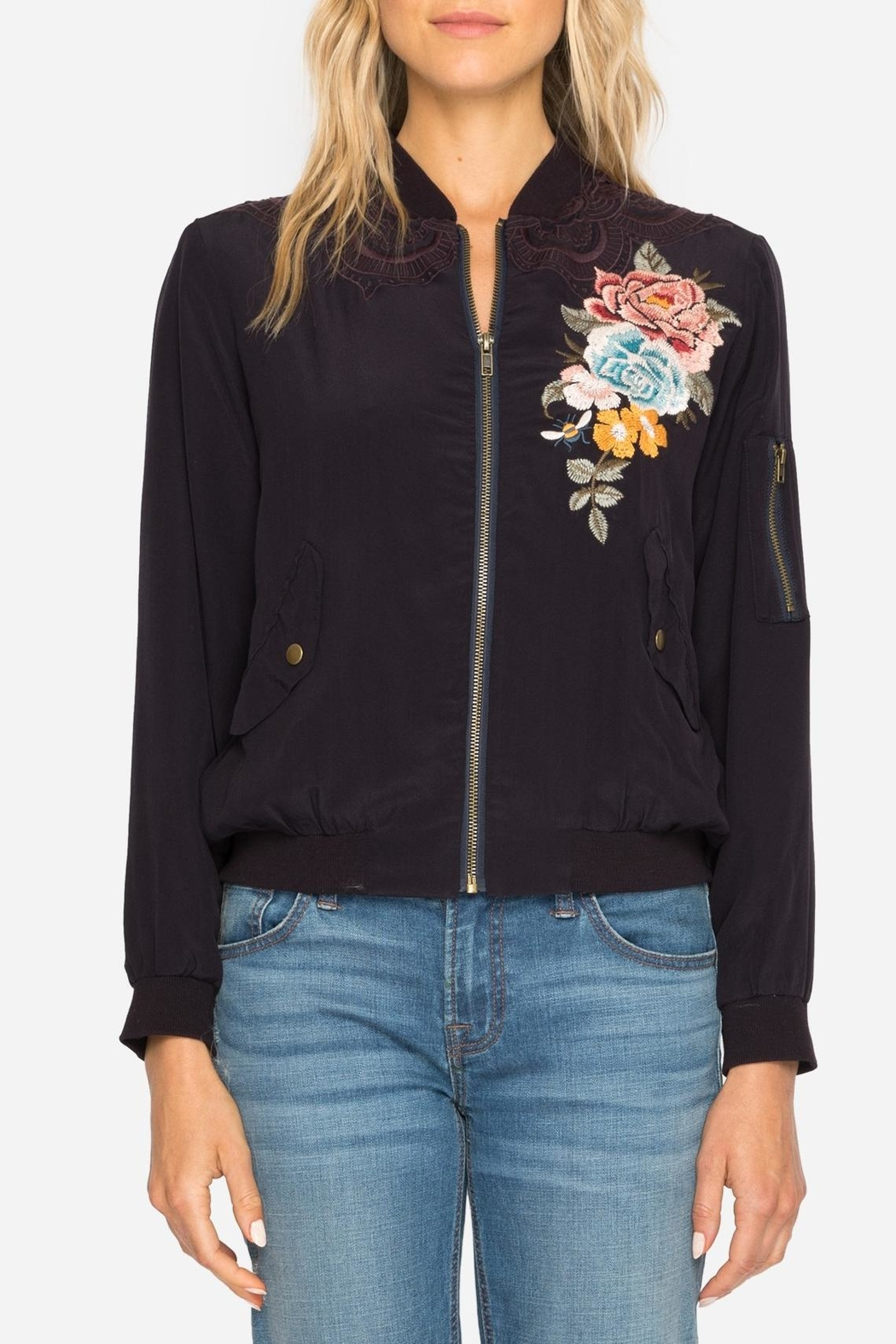 Johnny Was Silk Embroidered Bomber Jacket - Main Image