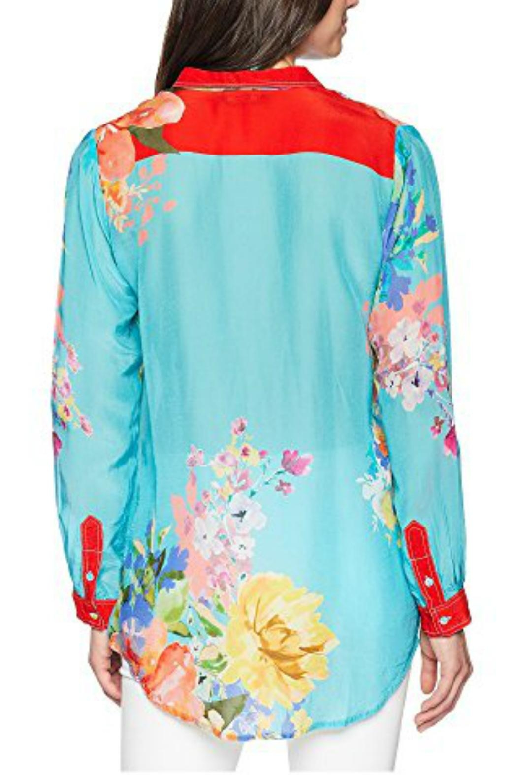 Johnny Was Tropical Print Blouse - Front Full Image