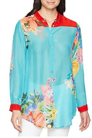 Johnny Was Tropical Print Blouse - Front cropped