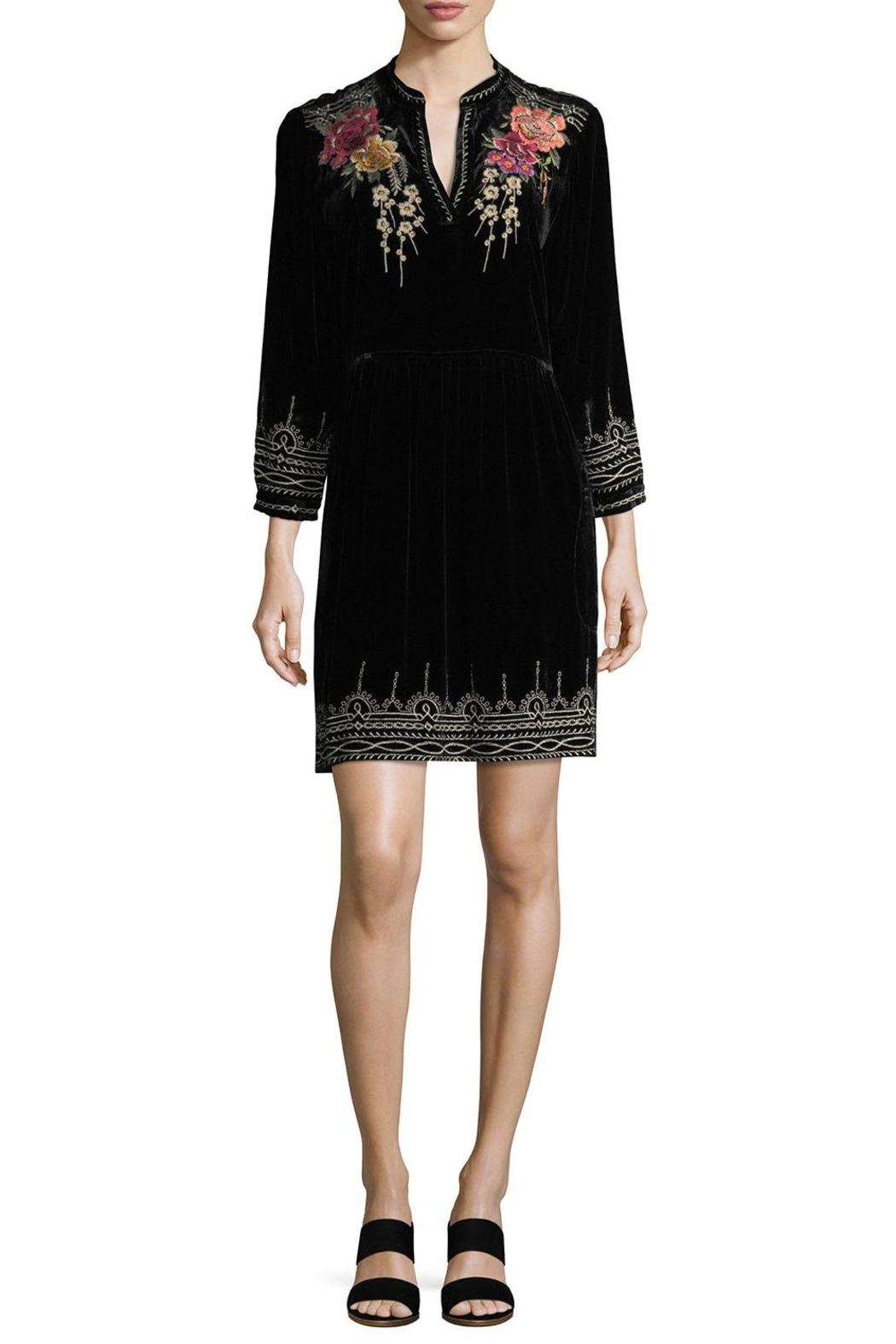 Johnny Was Velvet Embroidered Dress - Main Image