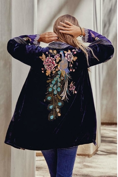 Johnny Was Velvet Embroidered Kimono - Product List Image