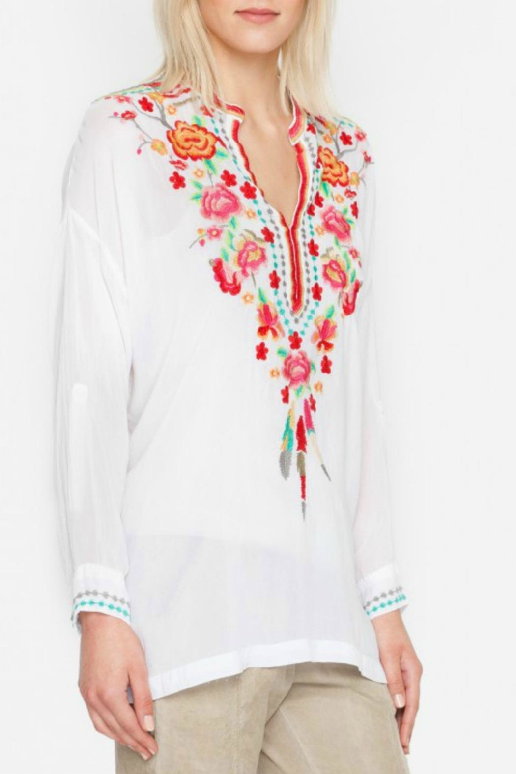 Johnny Was White Blossom Blouse - Front Cropped Image