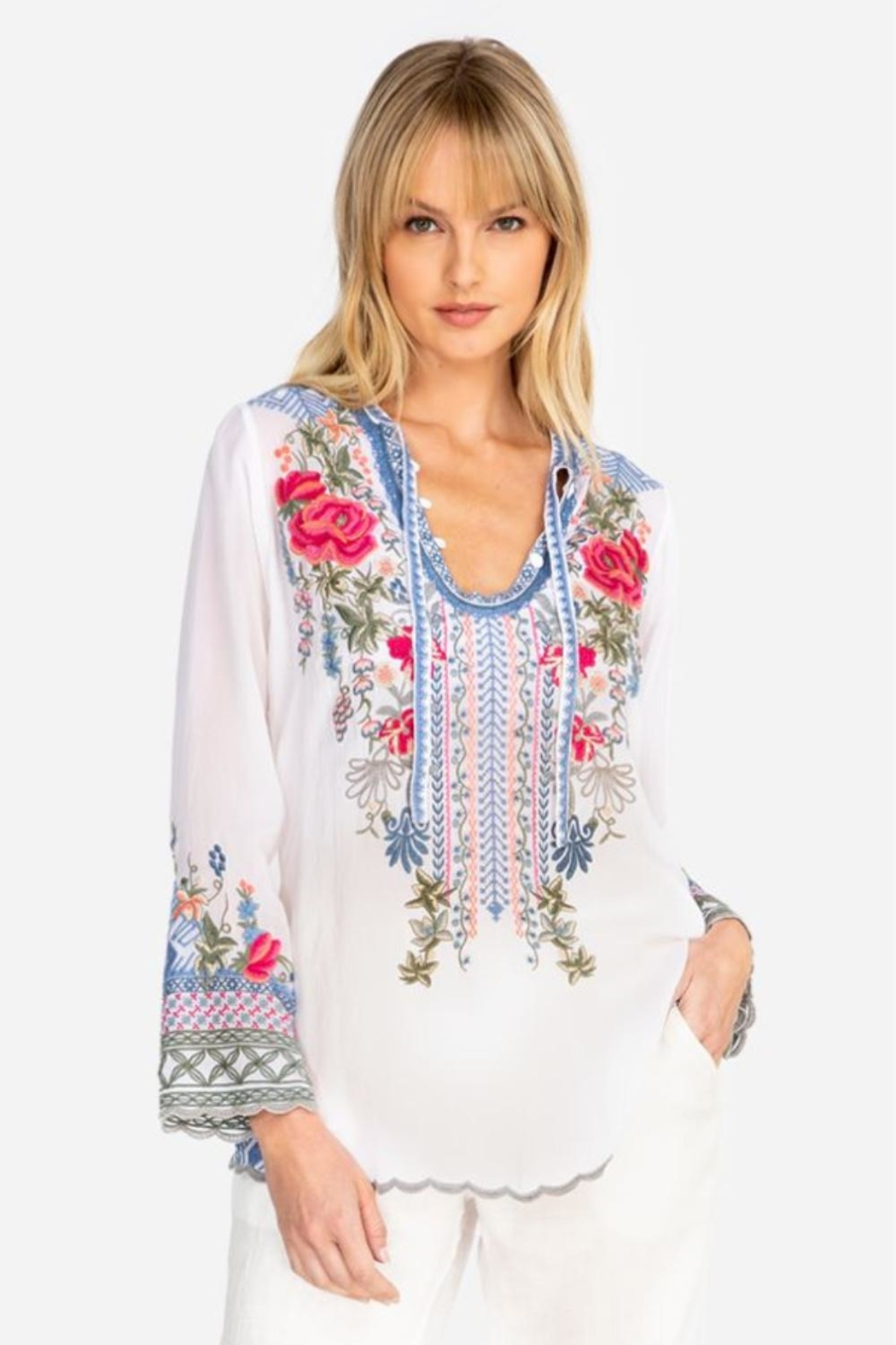 Johnny Was White Millie Blouse - Main Image