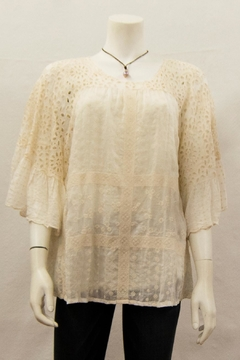 Johnny Was Collection Eyelet Ruffle Blouse - Product List Image