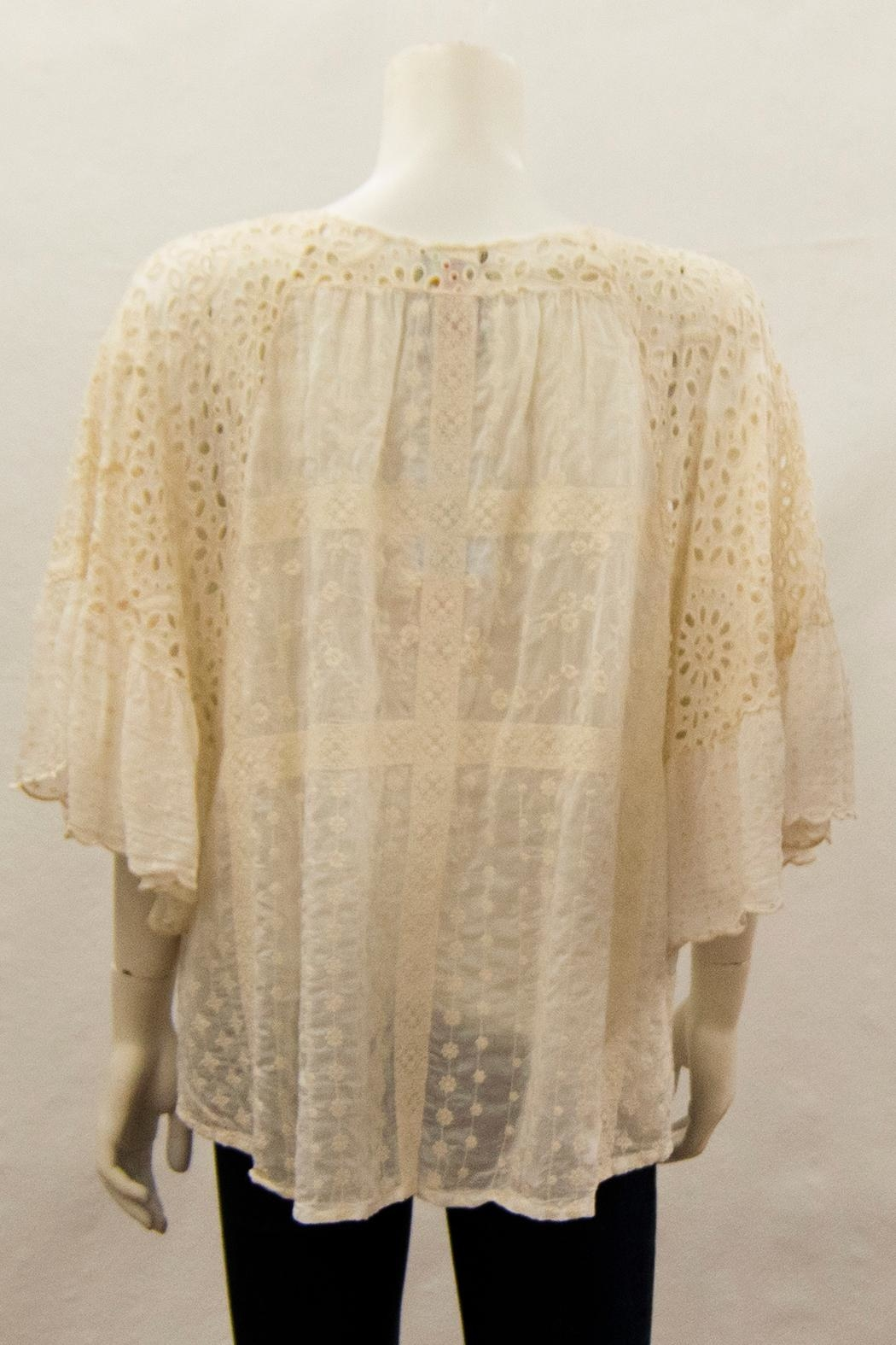 Johnny Was Collection Eyelet Ruffle Blouse - Front Full Image