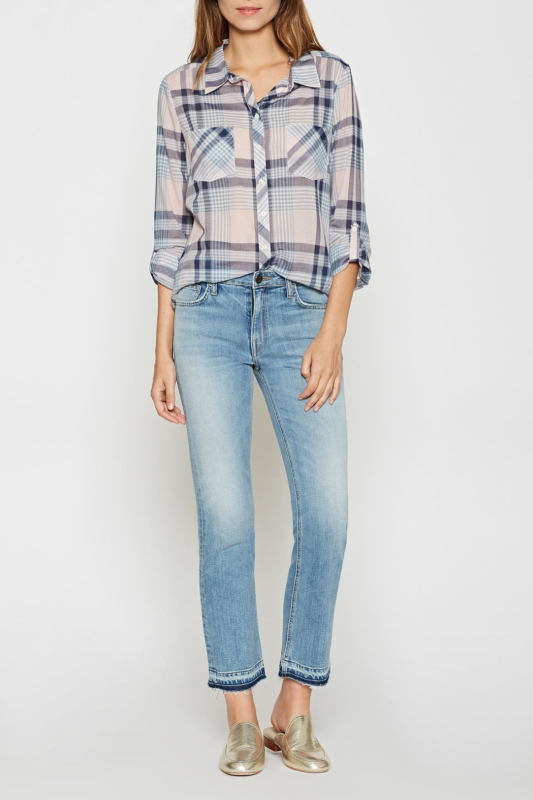 Joie Soft Lilya Plaid Top - Front Full Image